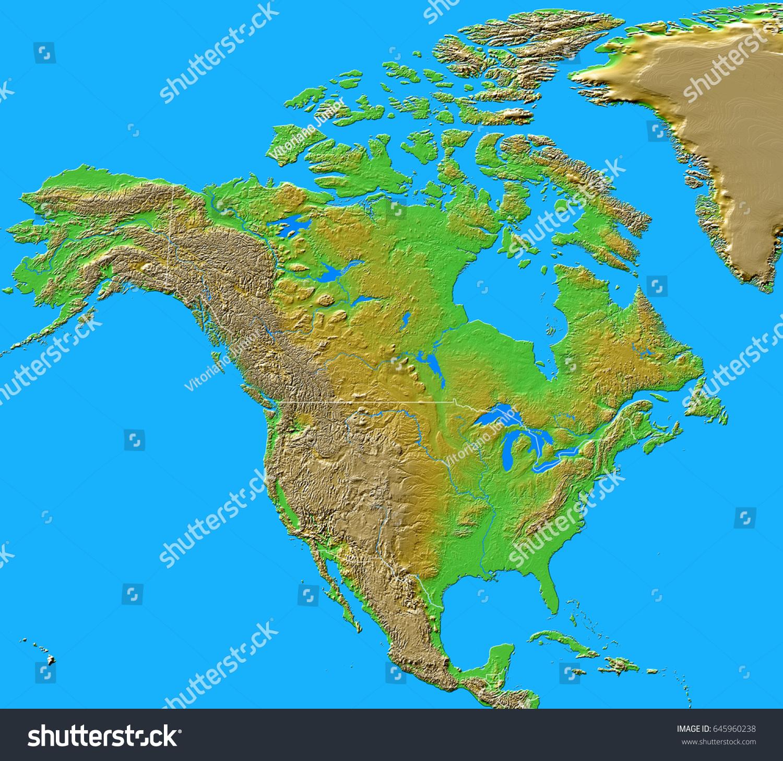 North america relief map