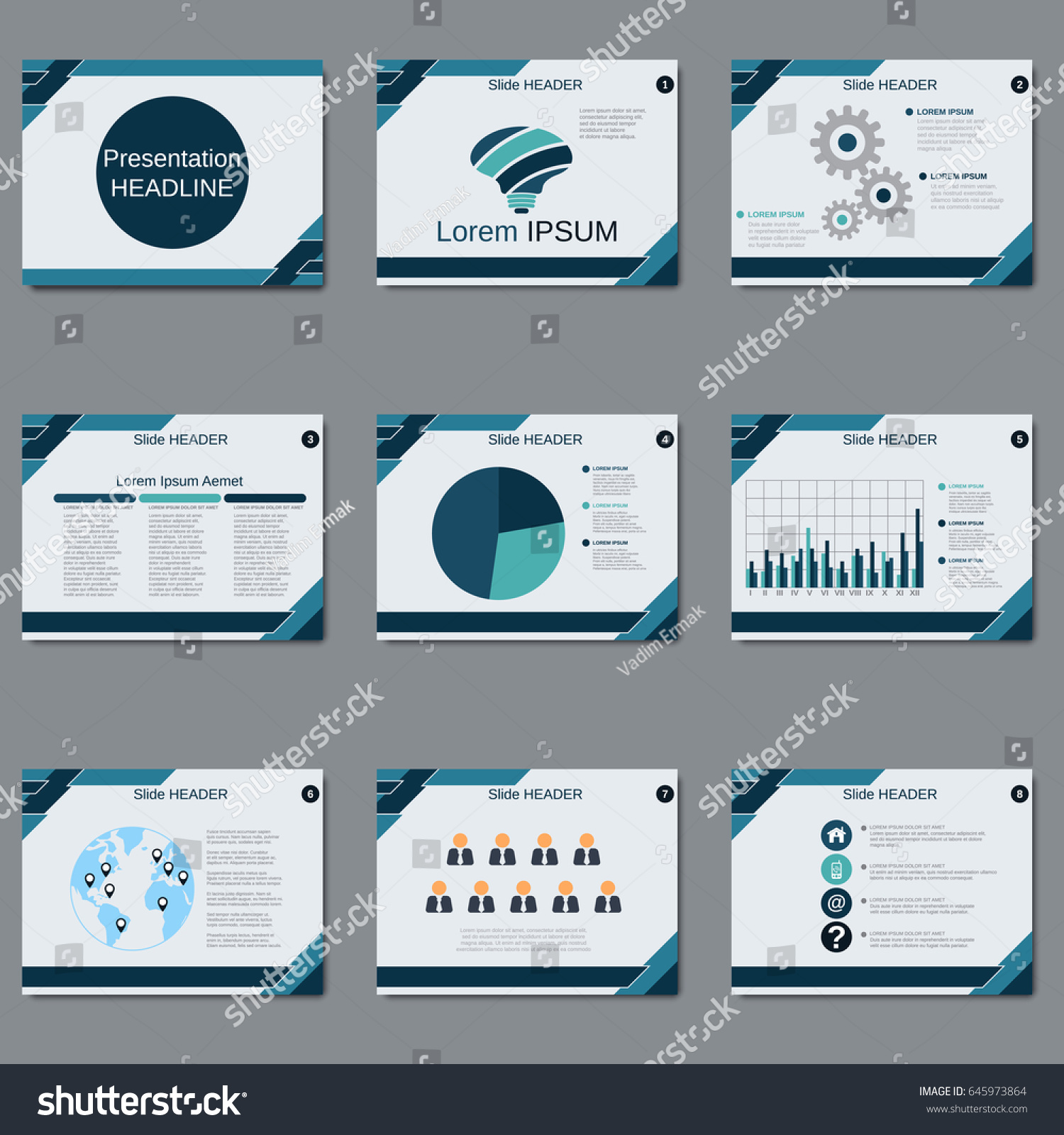 professional business presentation slide show vector stock vector