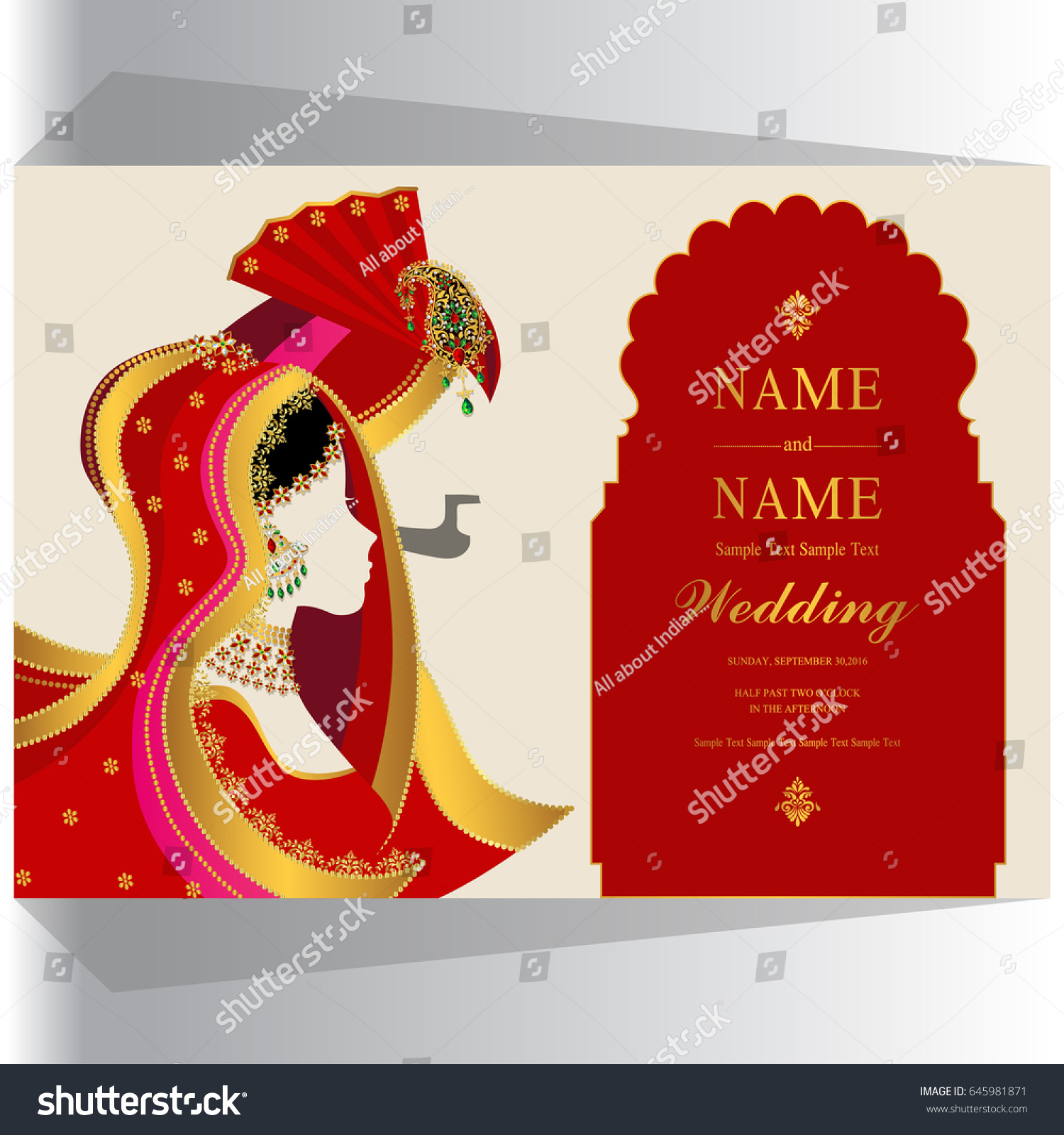 Wedding Invitation Card Templates Indian Man Stock Vector (Royalty ...