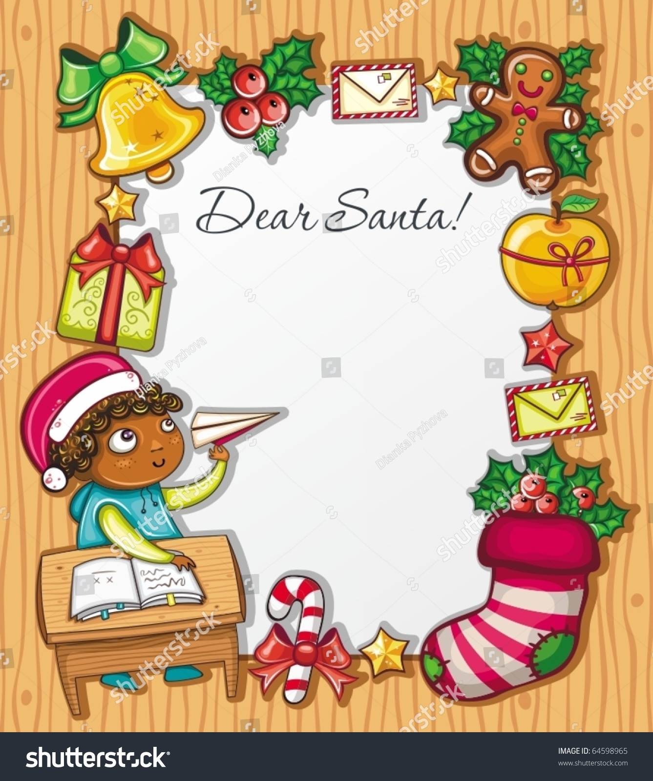 Letter to santa thanks for the milk cookies oh rubbish blog santa little boy wearing santa hat writing stock vector spiritdancerdesigns Images