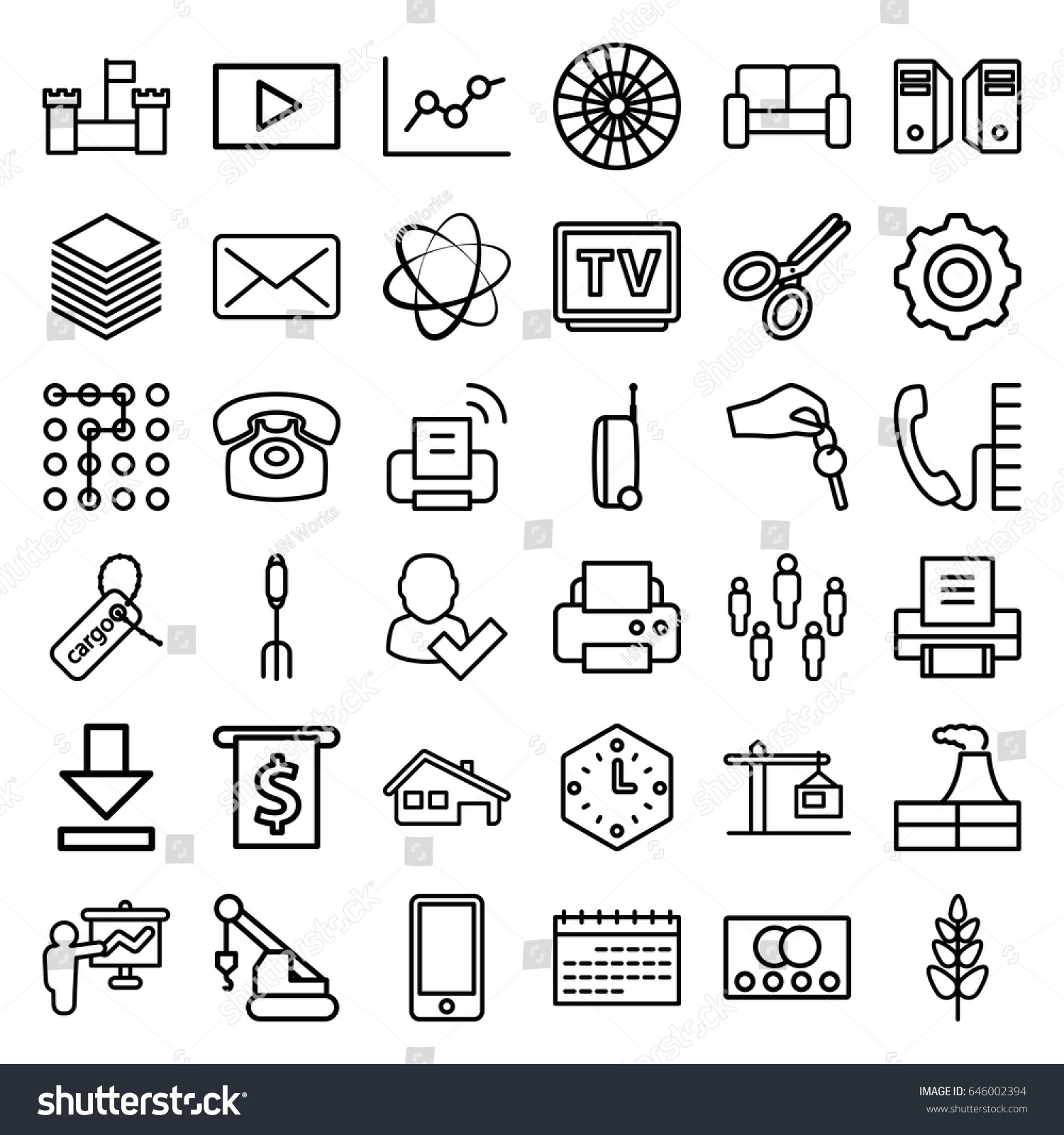 Business icons set set 36 business stock vector 646002394 shutterstock business icons set set of 36 business outline icons such as credit card factory reheart Images