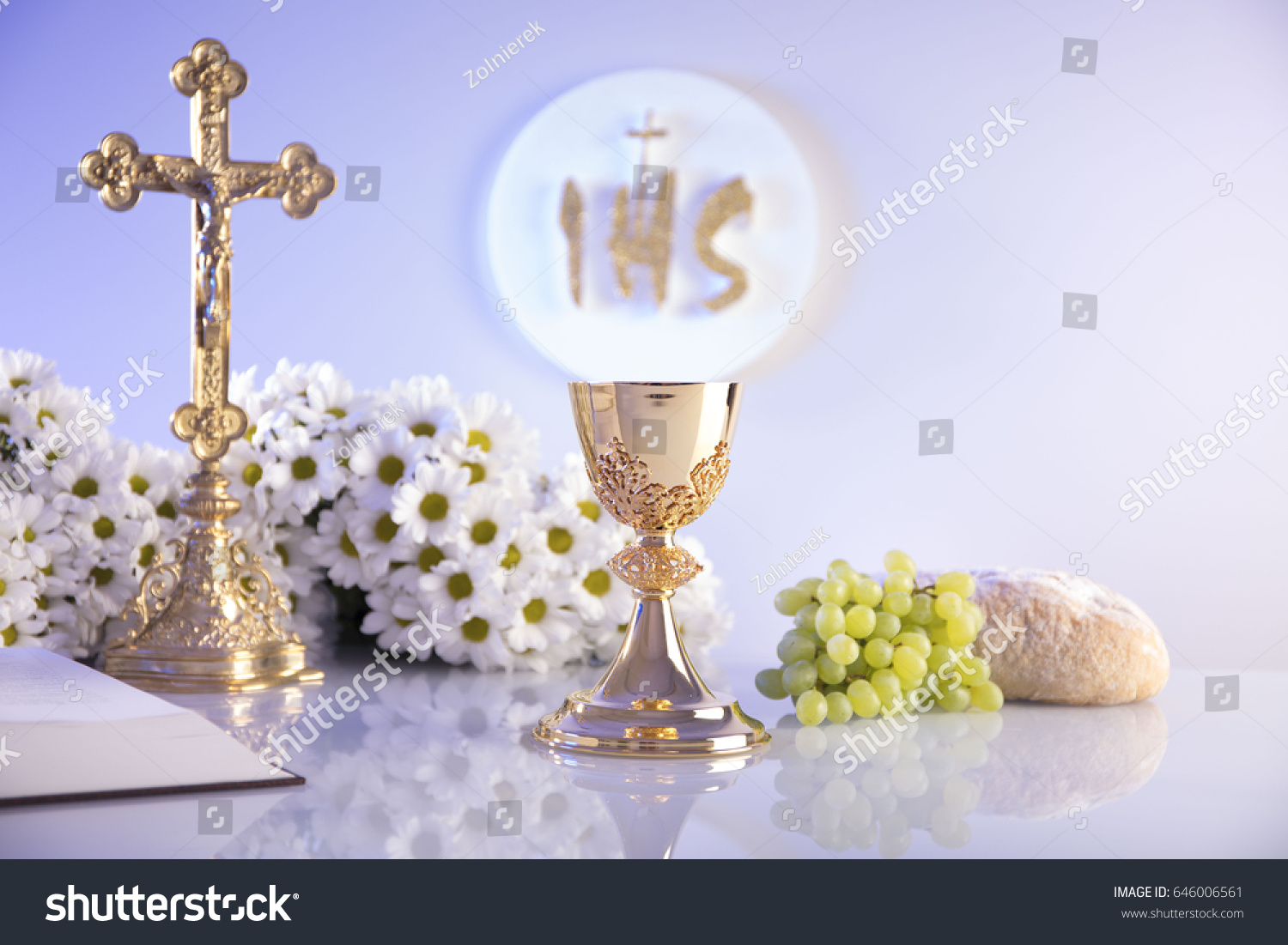 First holy communion concept golden chalice stock photo 646006561 first holy communion concept golden chalice altar cross bible grapes bread biocorpaavc