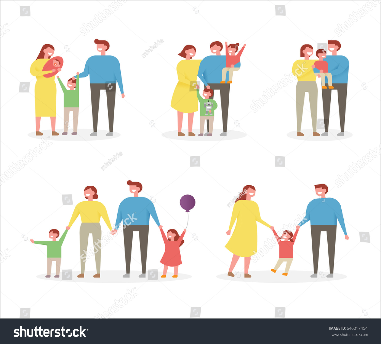 Vector Character Design Illustrator : Happy family character vector illustration flat stock
