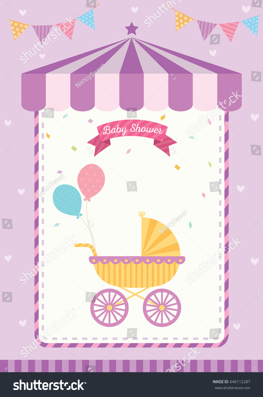 Baby Shower Invitation Cute Template Card Stock Vector 646112287 ...