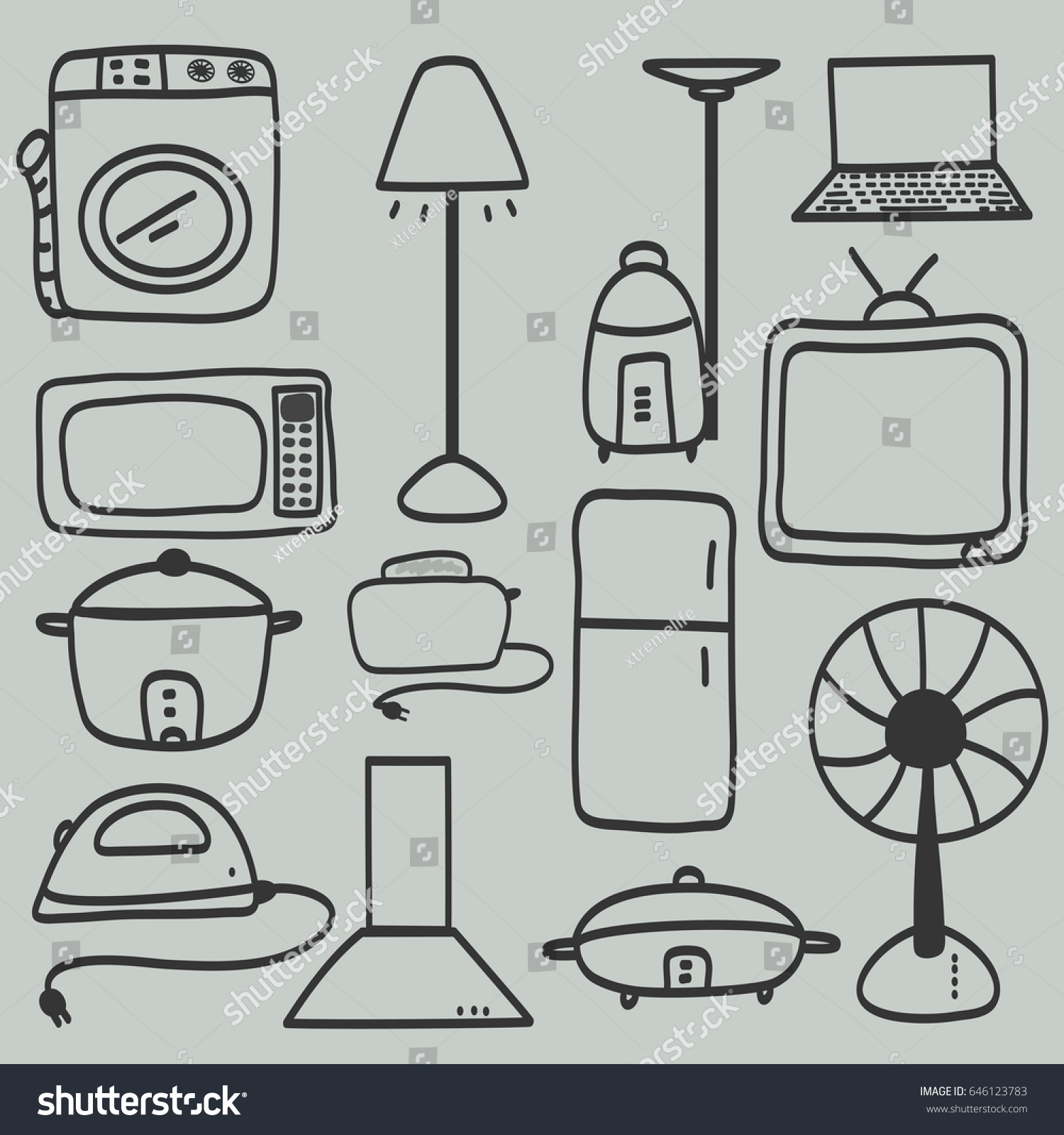 Incredible Electric Appliances Set Vector Hand Draw Stock Vektorgrafik Wiring Digital Resources Hetepmognl