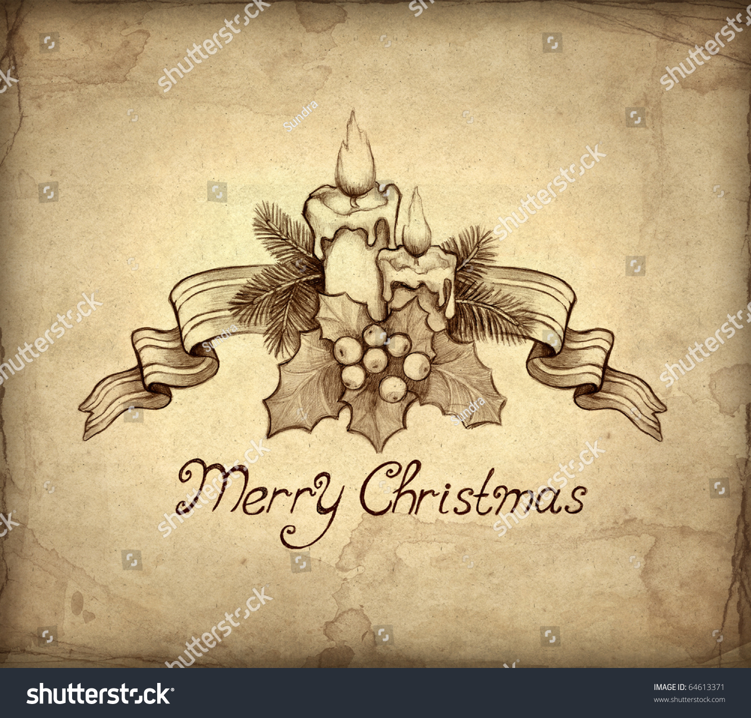 Old Christmas Greeting Card Drawing Candle Stock Illustration ...