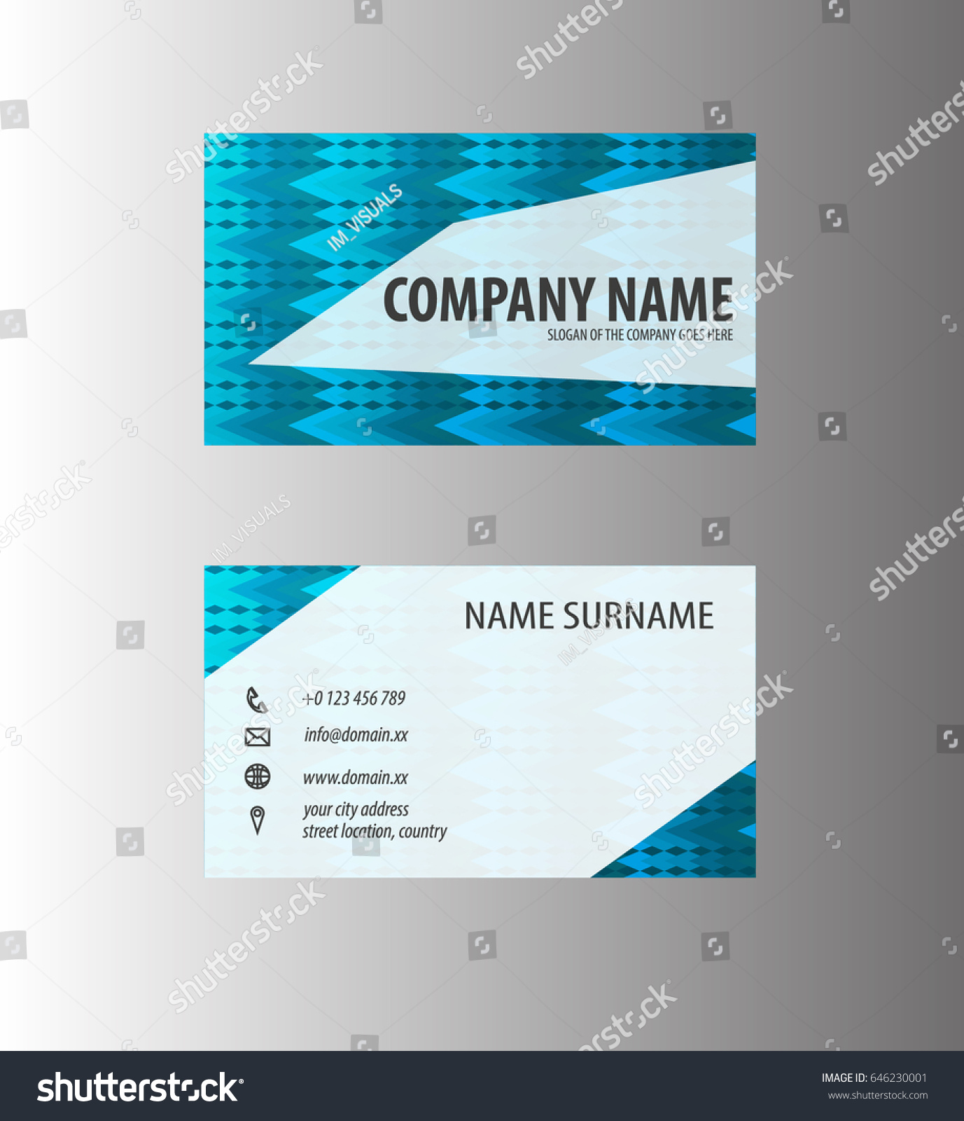 abstract business card design blue square stock vector