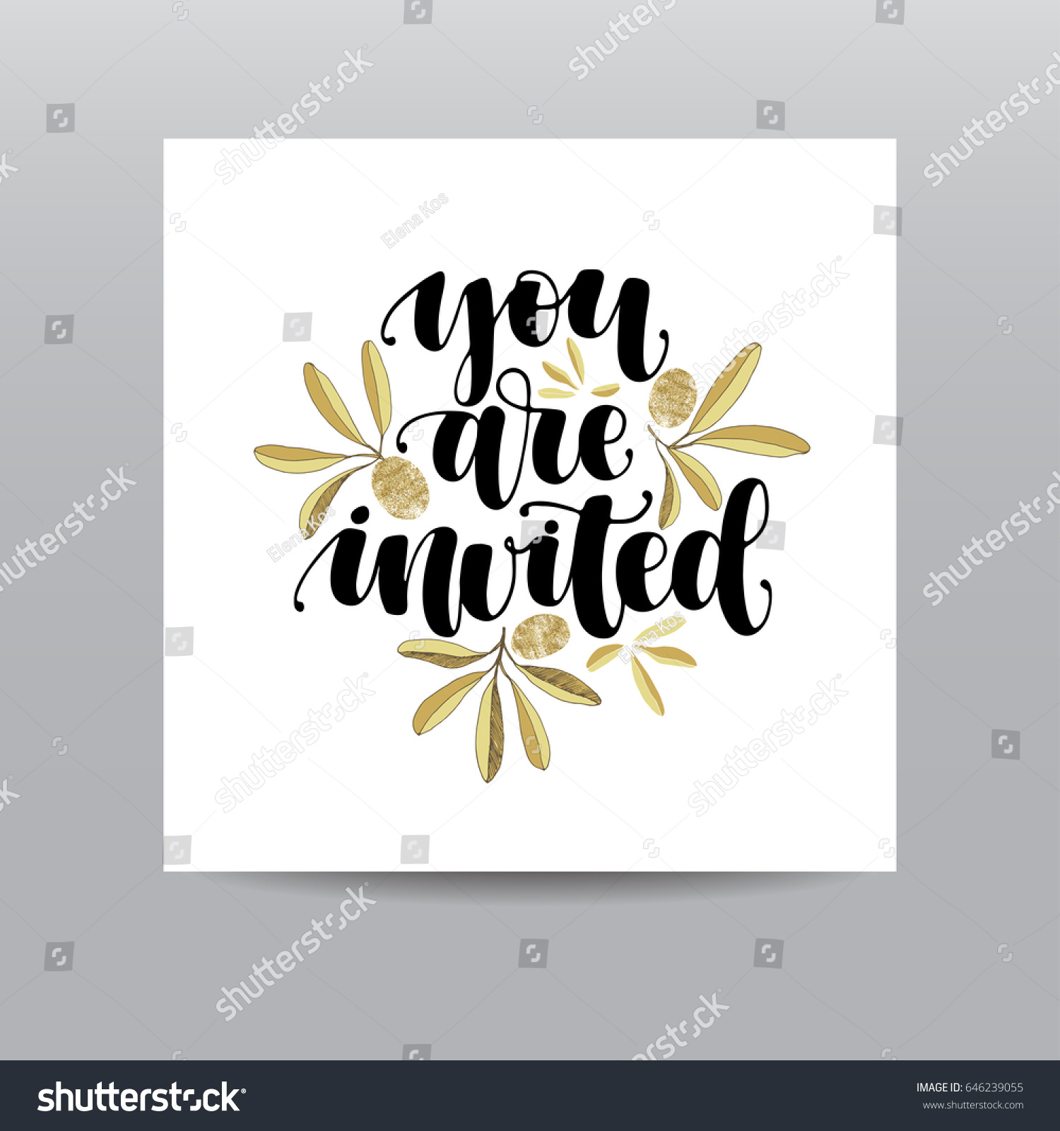 You Invited Handwritten Calligraphy Phrase Gold Stock Vector ...