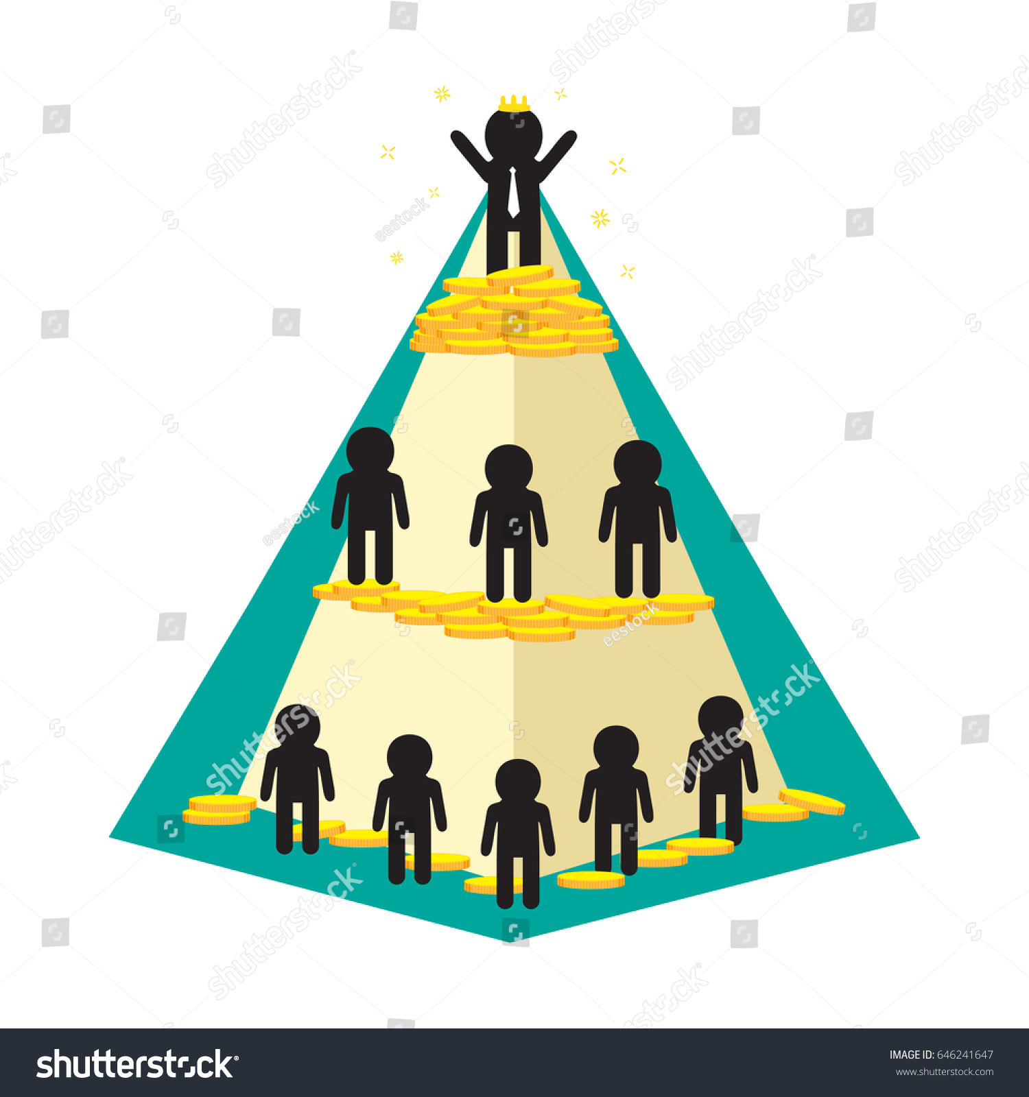 pyramid compare between rich poor people stock vector royalty free