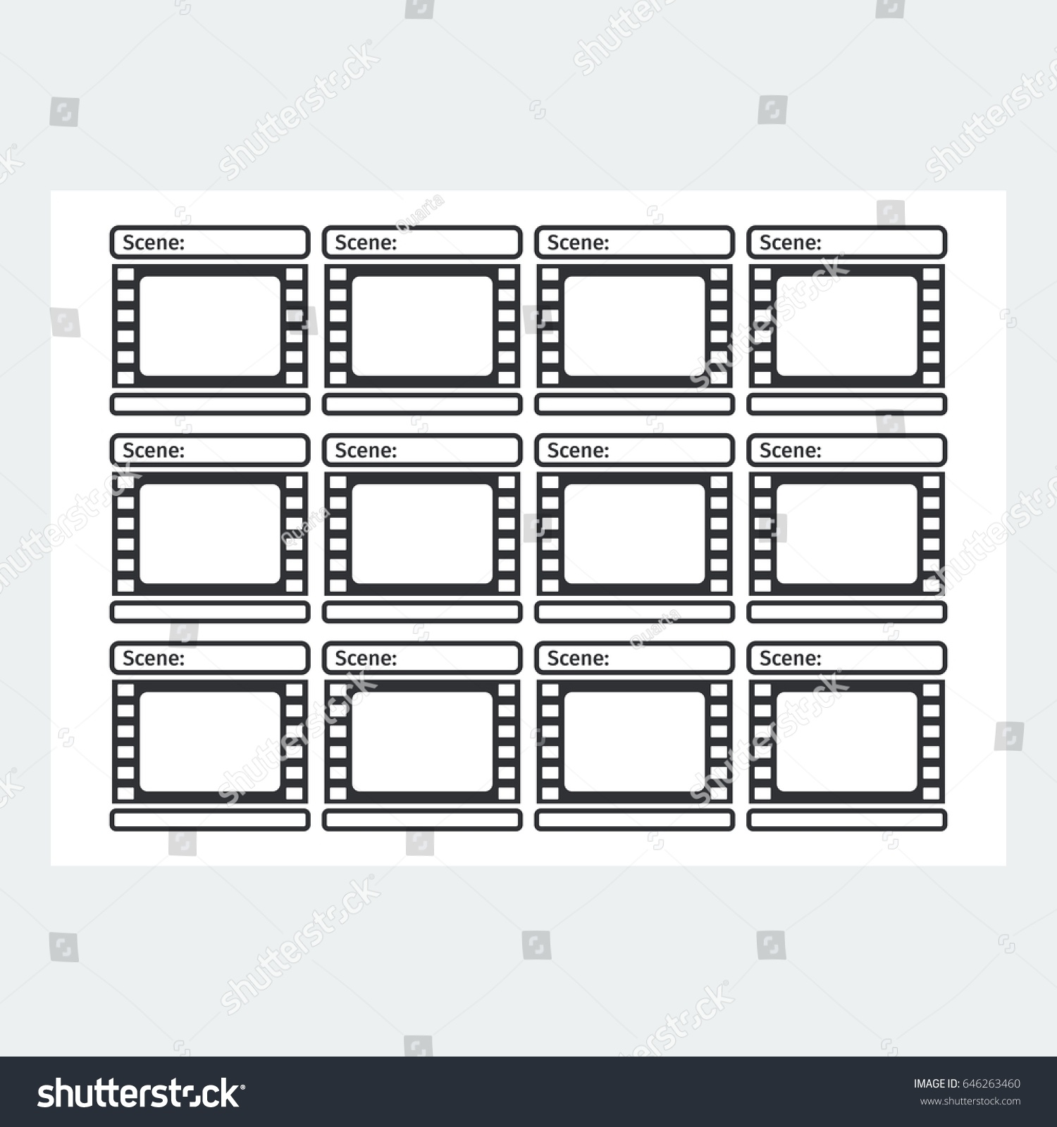 Storyboard Template In Form Of A Film. Scenario For Media Production. Flat  Vector Cartoon