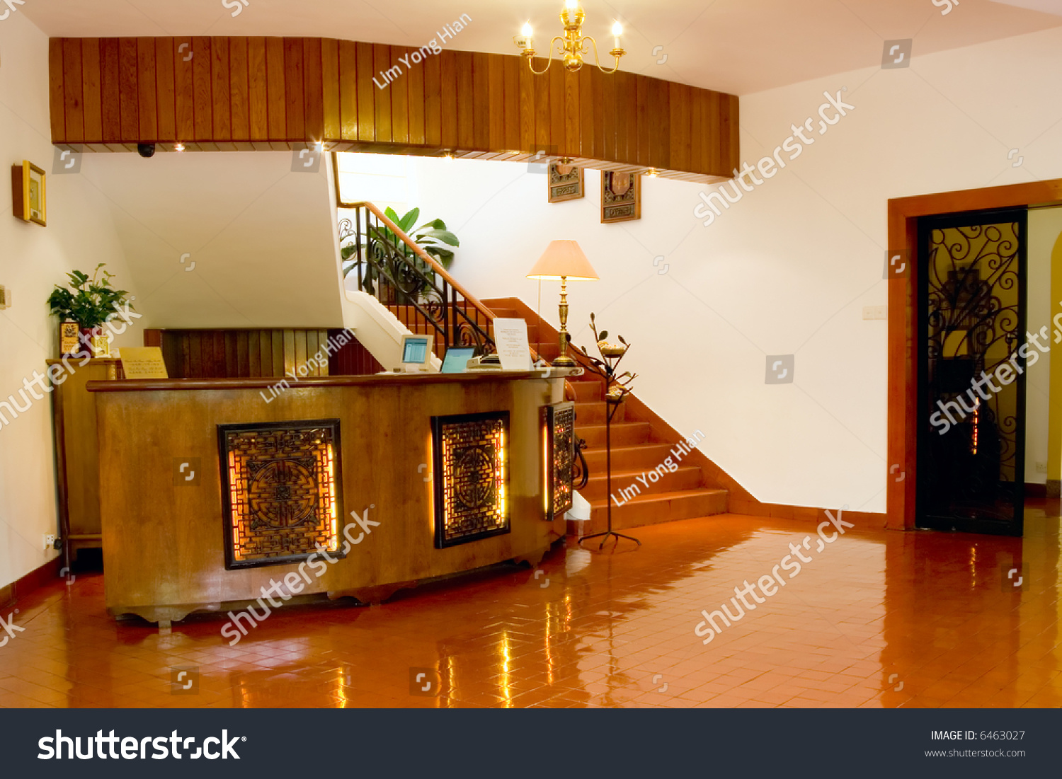 Reception Desk Lobby Small Hotel Stock Photo 6463027