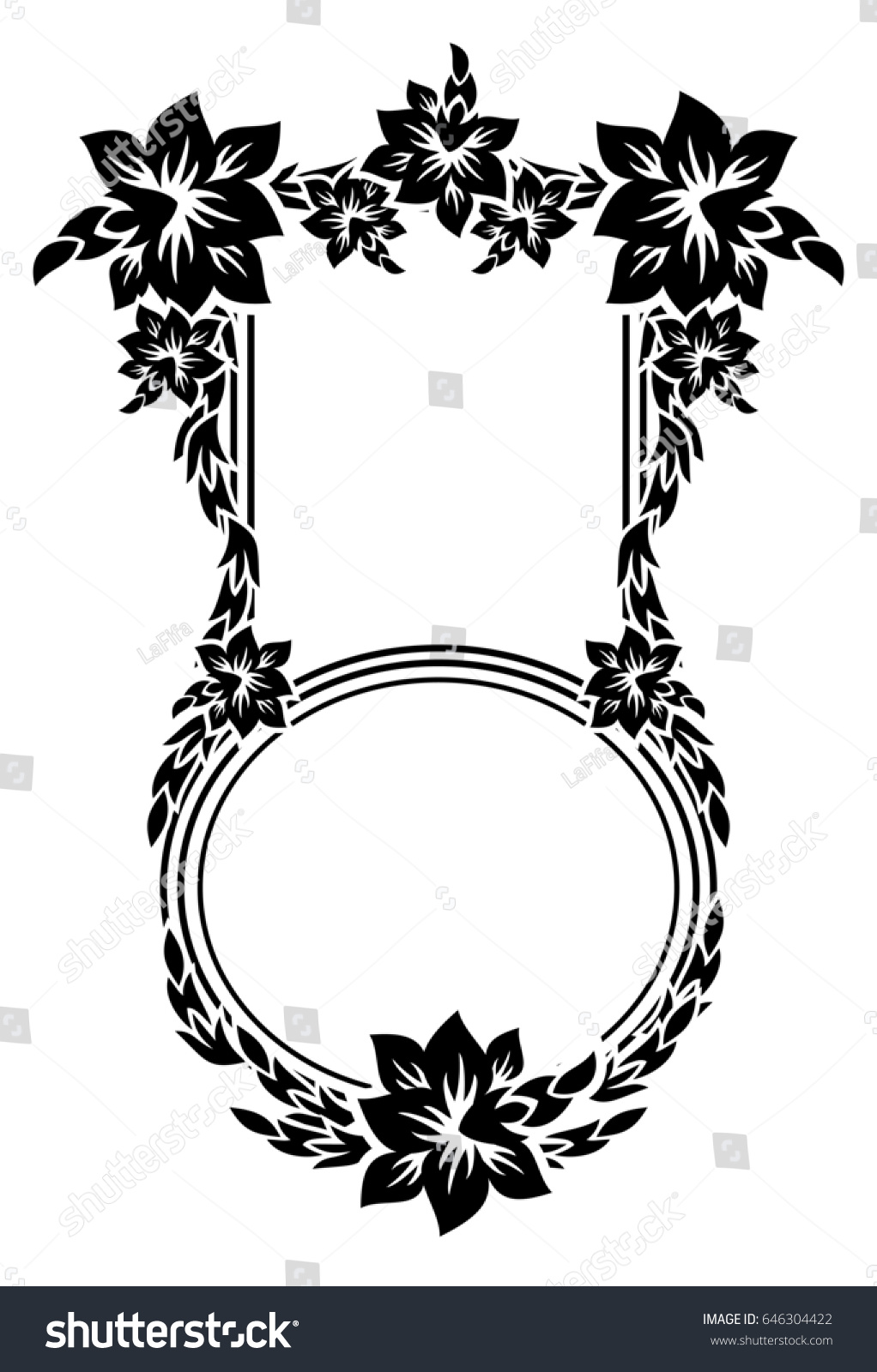 Black White Silhouette Frame Decorative Flowers Stock Vector