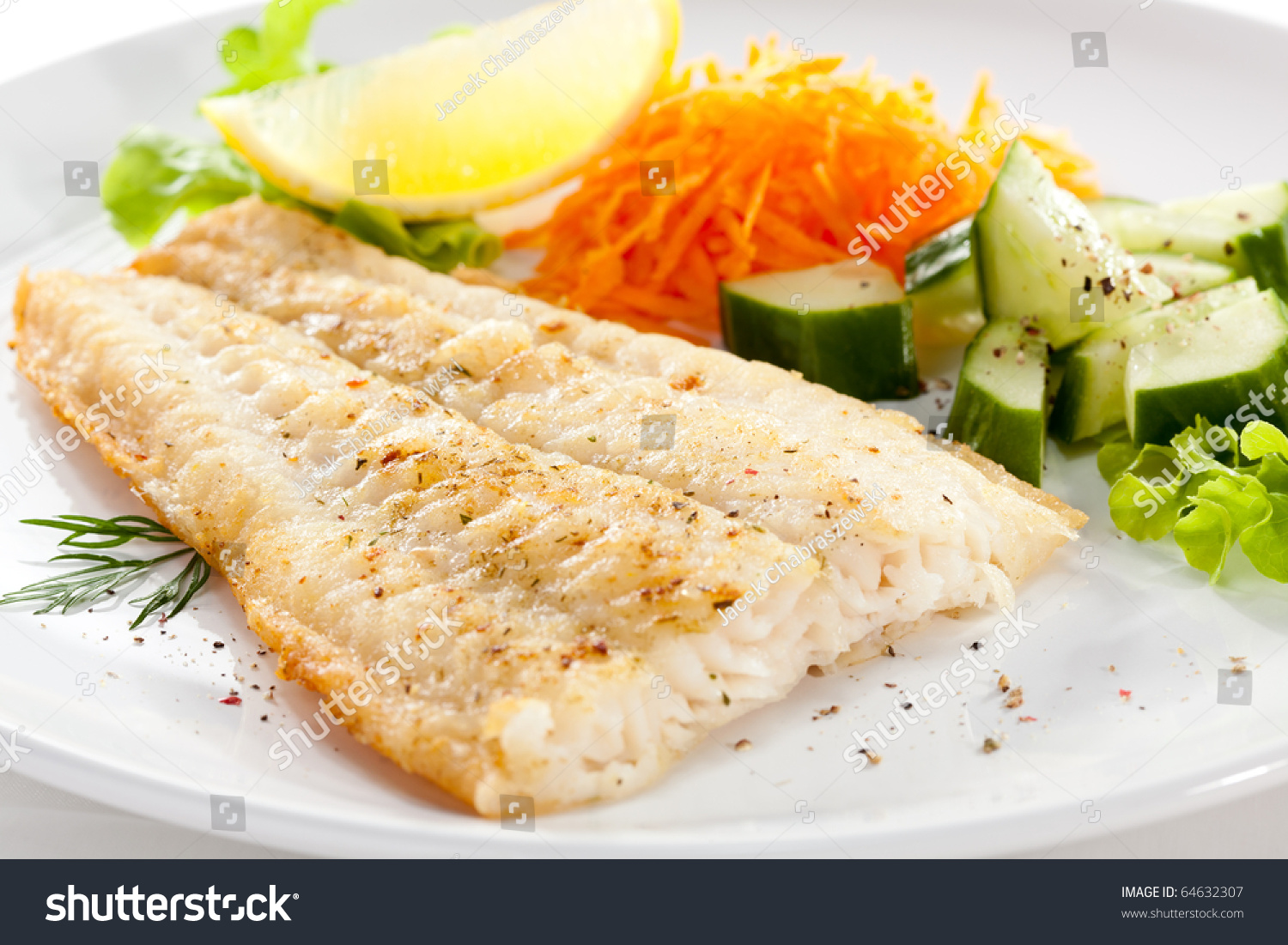 Fish dish fried fish fillet vegetables stock photo for What vegetables go with fish