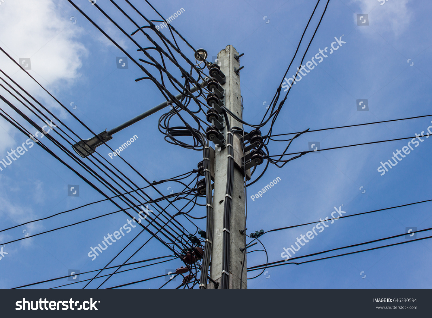 Closeup Electric Pole Power Lines Cable Stock Photo (Download Now ...