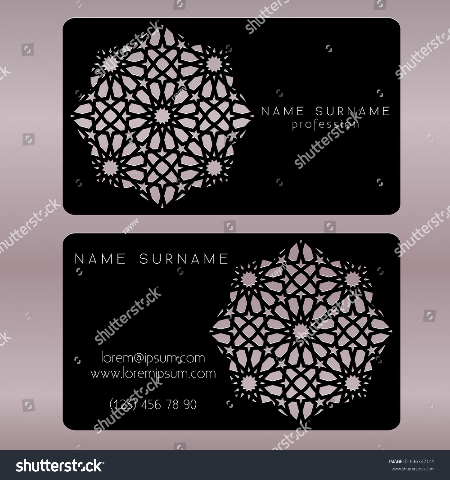Business Card Template Cut Out Arabic Stock Vector 646347145 ...