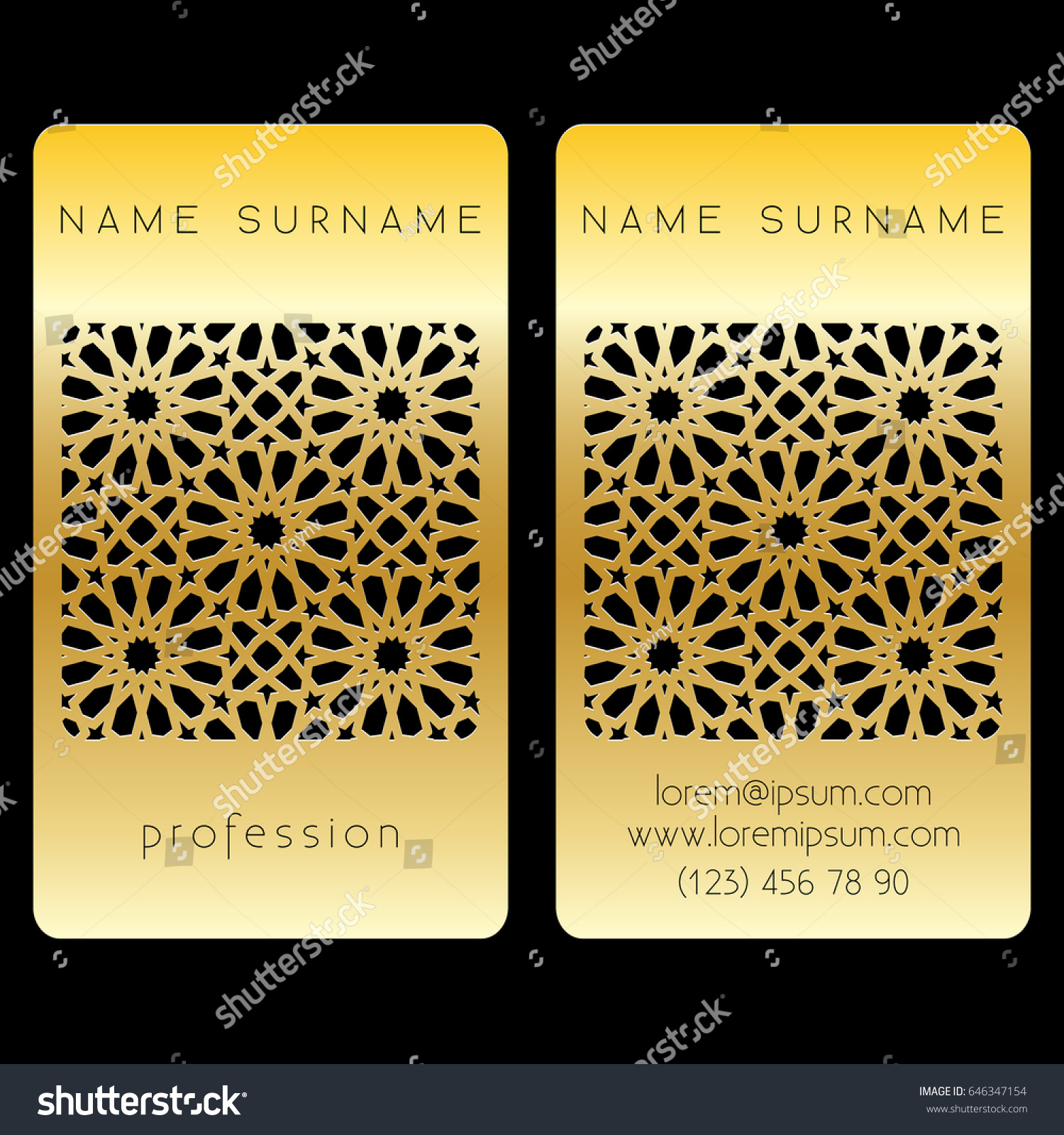Business card template cut out arabic stock vector 646347154 business card template with a cut out arabic pattern laser cutting eastern gold design magicingreecefo Choice Image