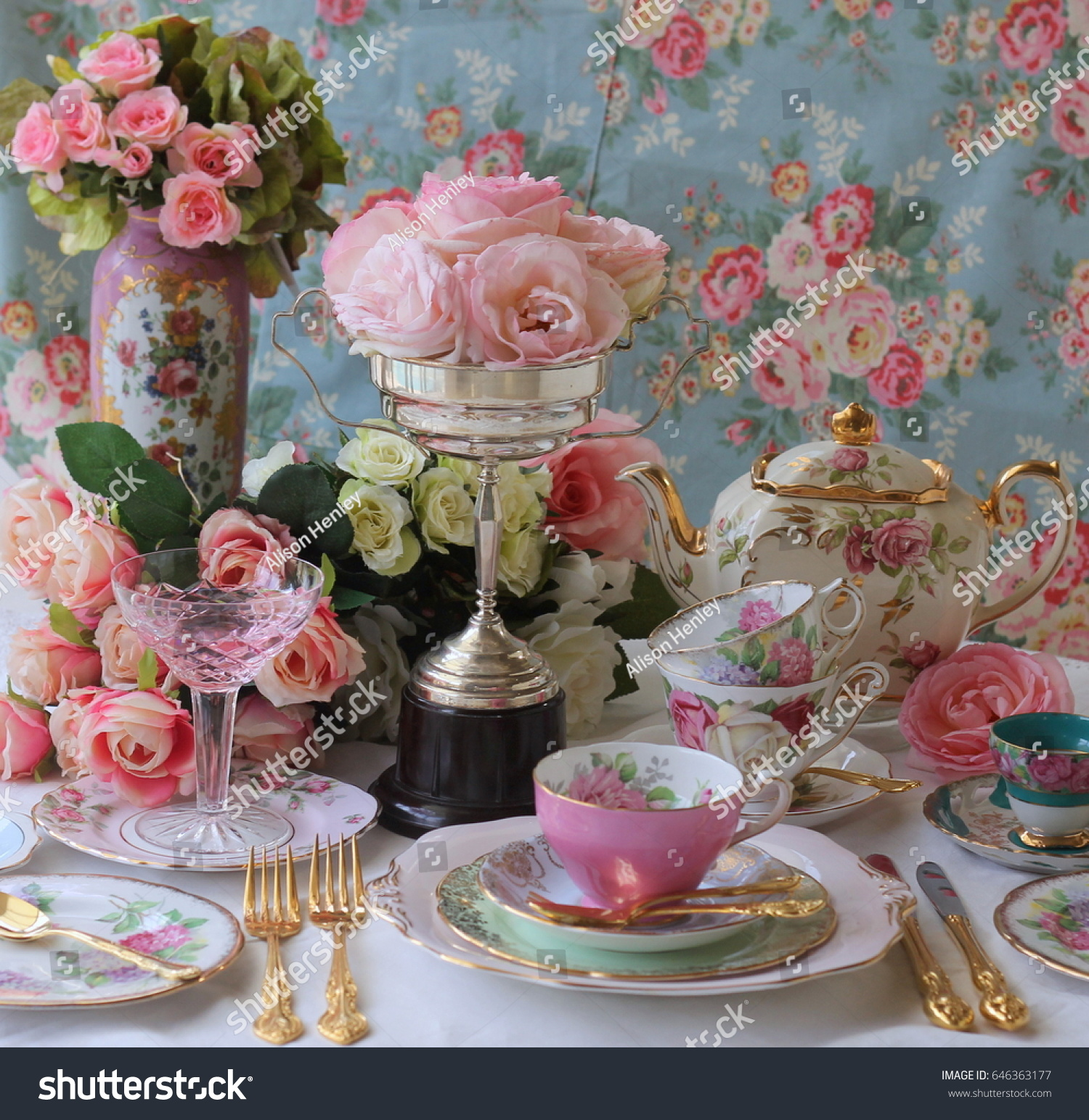 Vintage Tea Party Cups Teapots Stock Photo Edit Now 646363177 Story Flower Shabby Rose 1 And Gold Cutlery Flatware With Silver Trophy