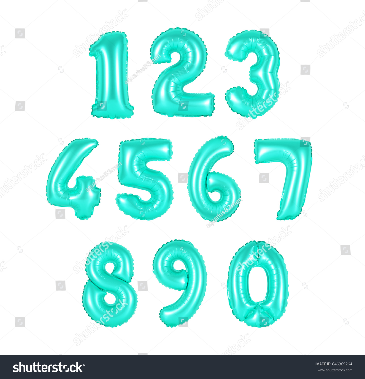 Numbers Turquoise Color Balloons On White Stock Photo (Edit Now ...