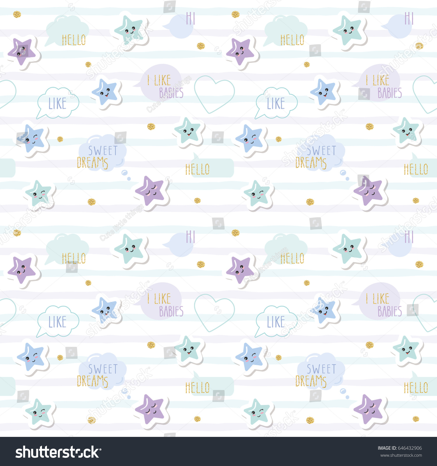 cute pattern background cartoon kawaii stars stock illustration