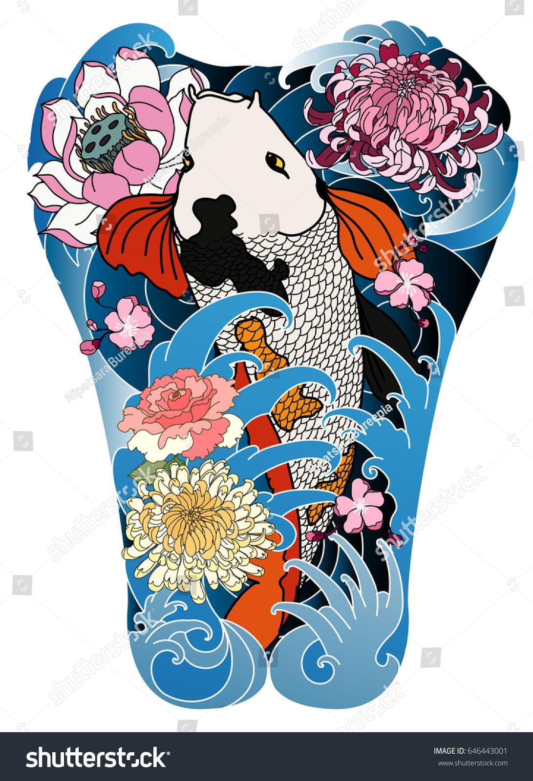 Hand drawn koi fish lotus flower stock vector royalty free hand drawn koi fish with lotus flower and wave tattoojapanese tattoo for back body izmirmasajfo