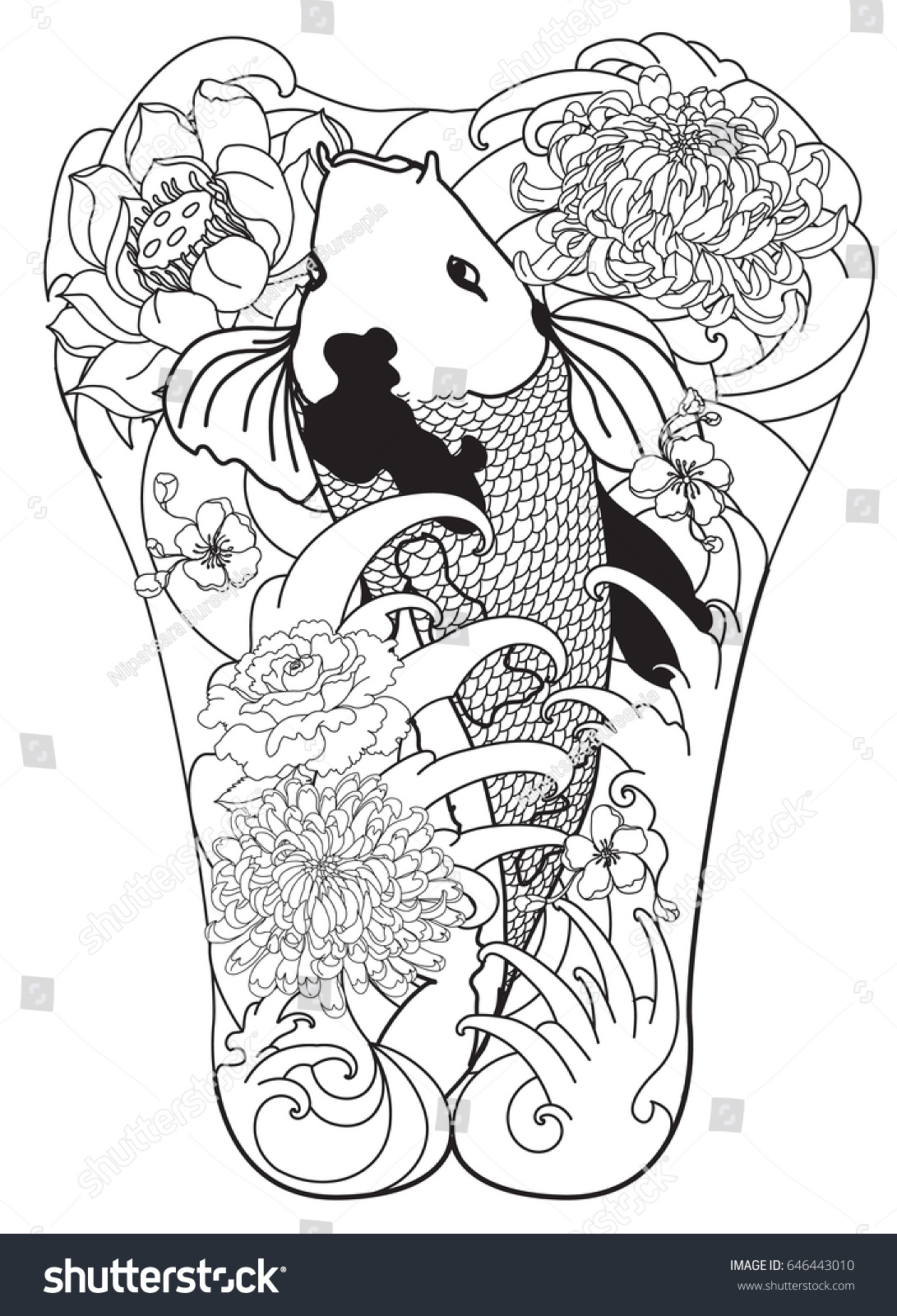 Hand Drawn Koi Fish Lotus Flower Stock Vector Royalty Free