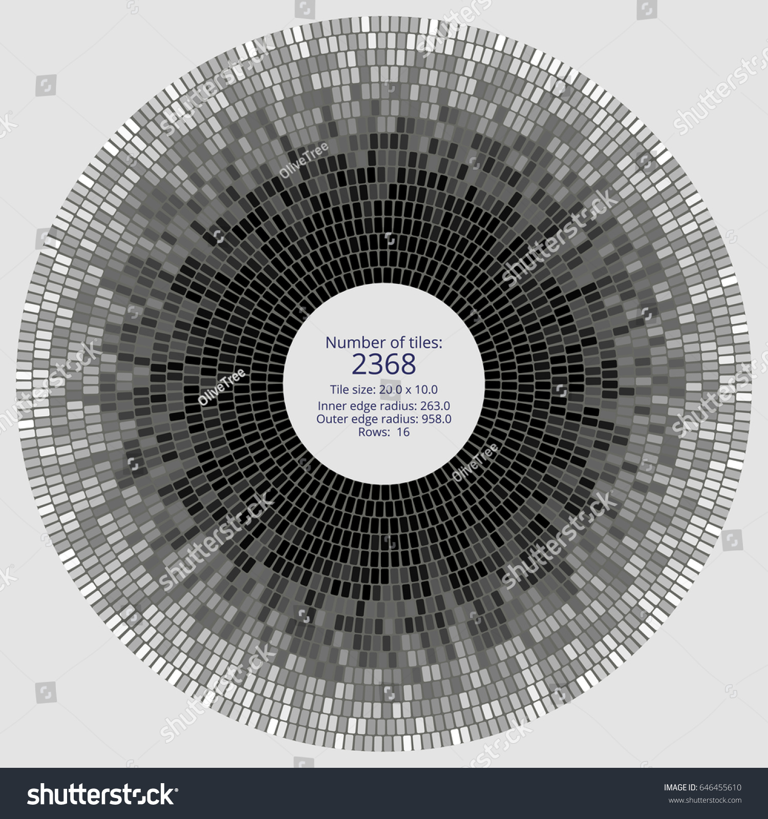 Circular Paving Tile Pattern Quantitative Dimensional