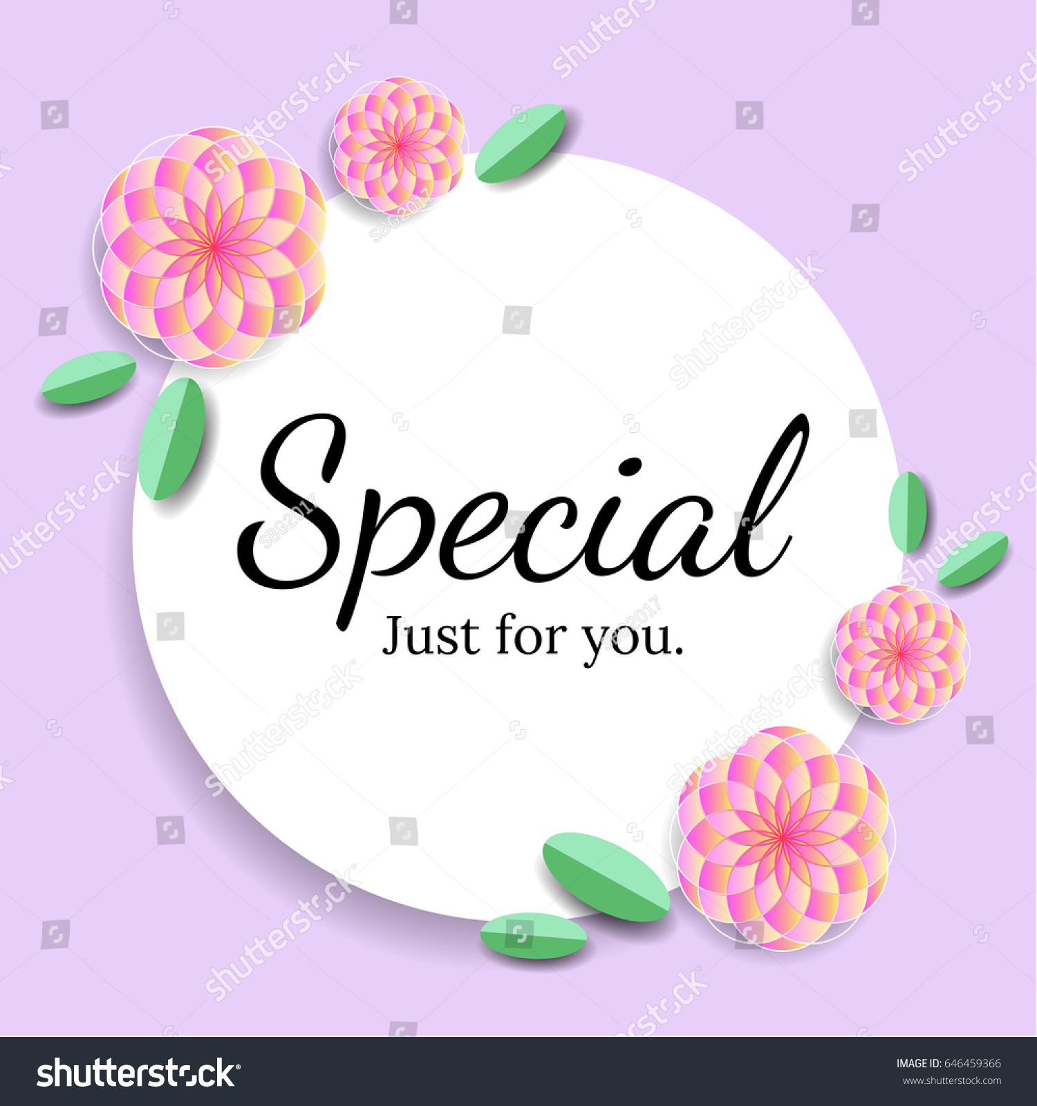 Special Just For You Card With Pink Flowers Vector Illustration Design Banners