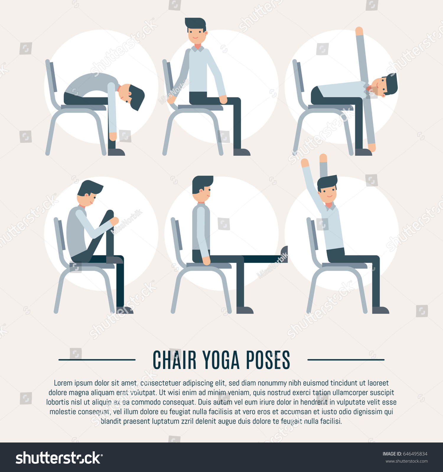 Vector fice Chair Yoga Pose Set Stock Vector