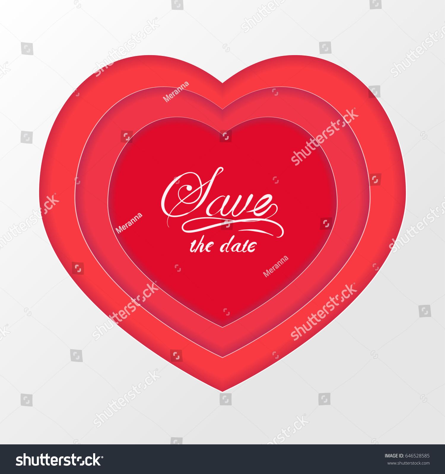 Red Volumetric Paper Cut Heart Valentines Stock Vector 646528585 ...