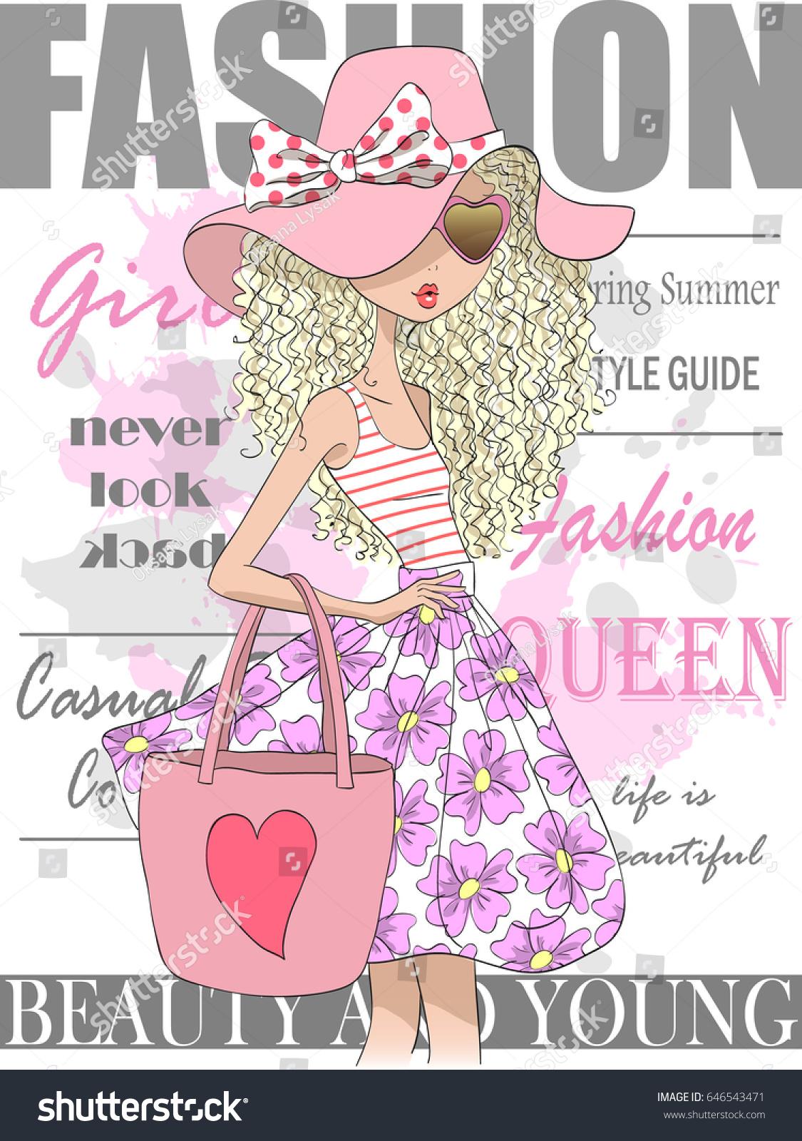 hand drawn beautiful cute summer girl stock vector 646543471