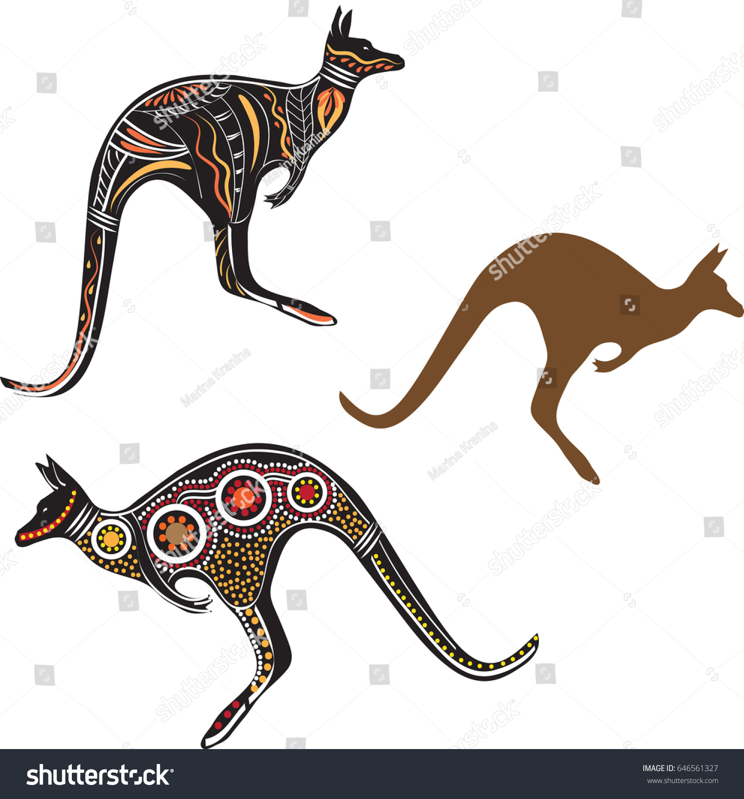 Kangaroo Animal Symbol Australia Stock Vector Royalty Free