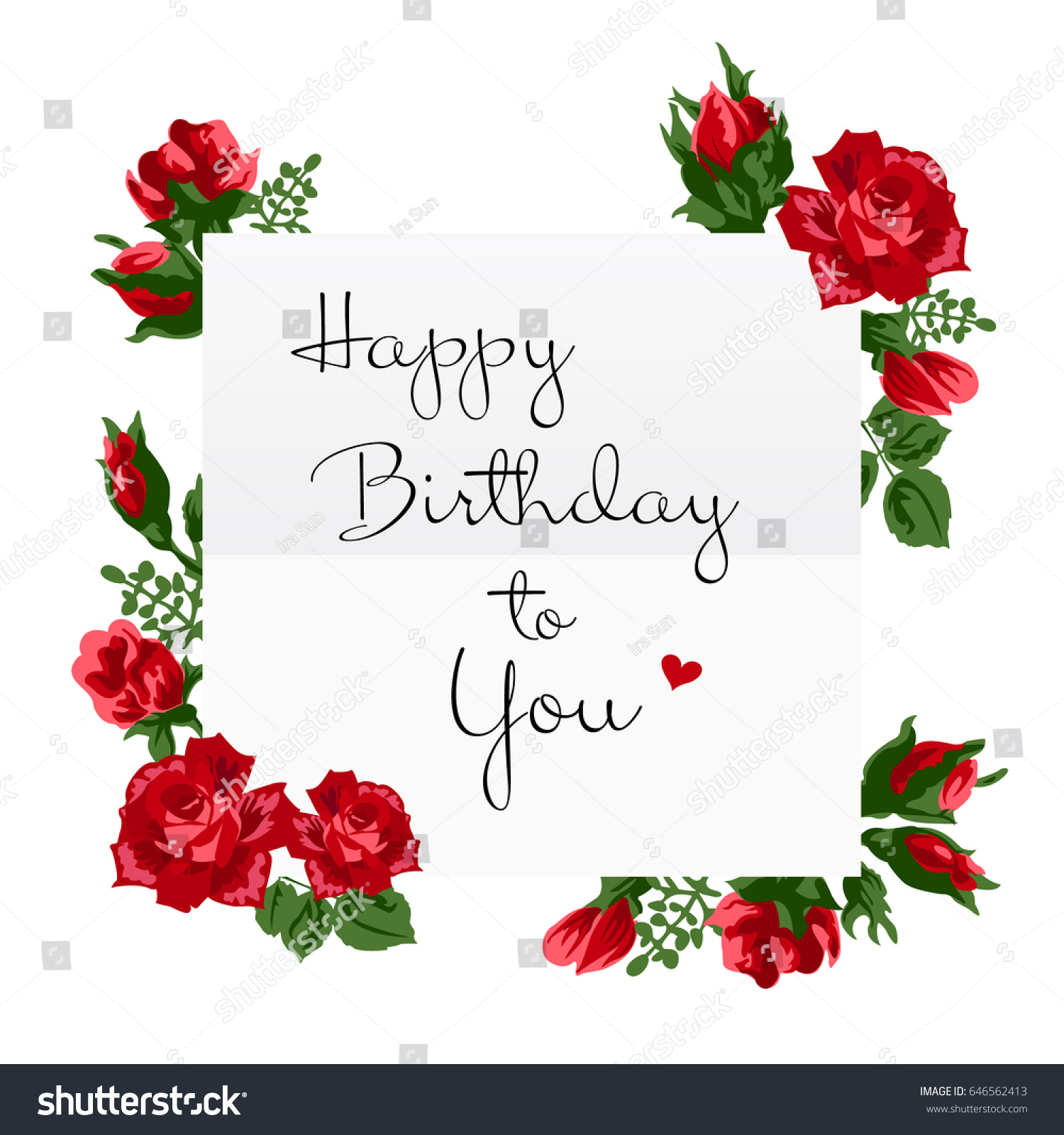 Vector illustration happy birthday greeting card stock vector vector illustration of happy birthday greeting card white paper greeting card decorated with red roses izmirmasajfo