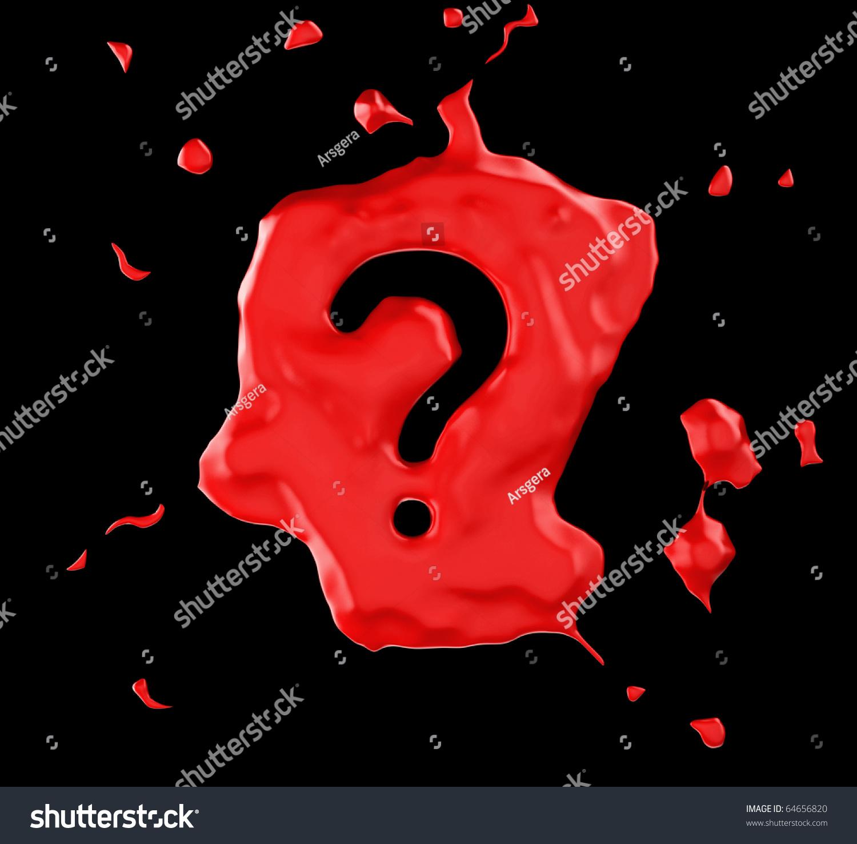 Red Blob Question Mark Over Black Ilustración En Stock ...