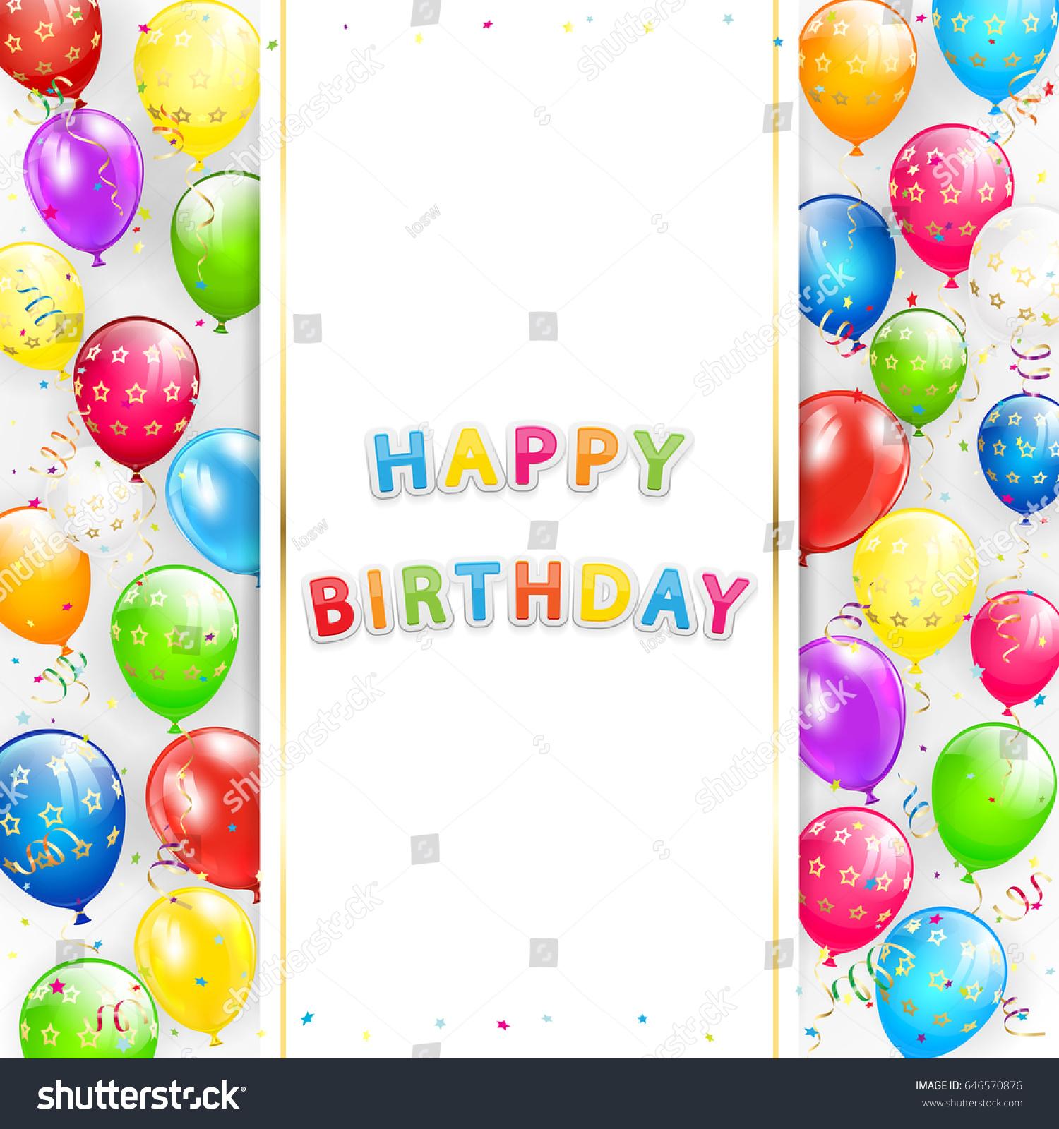 Card Lettering Happy Birthday Frame Flying Stock Illustration ...