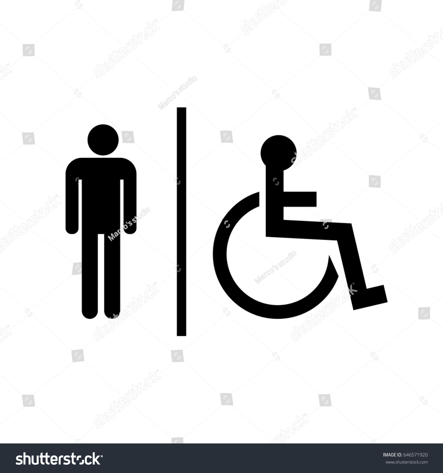 Bathroom Sign Male Vector toilet icon bathroom signs male handicaped stock vector 646571920