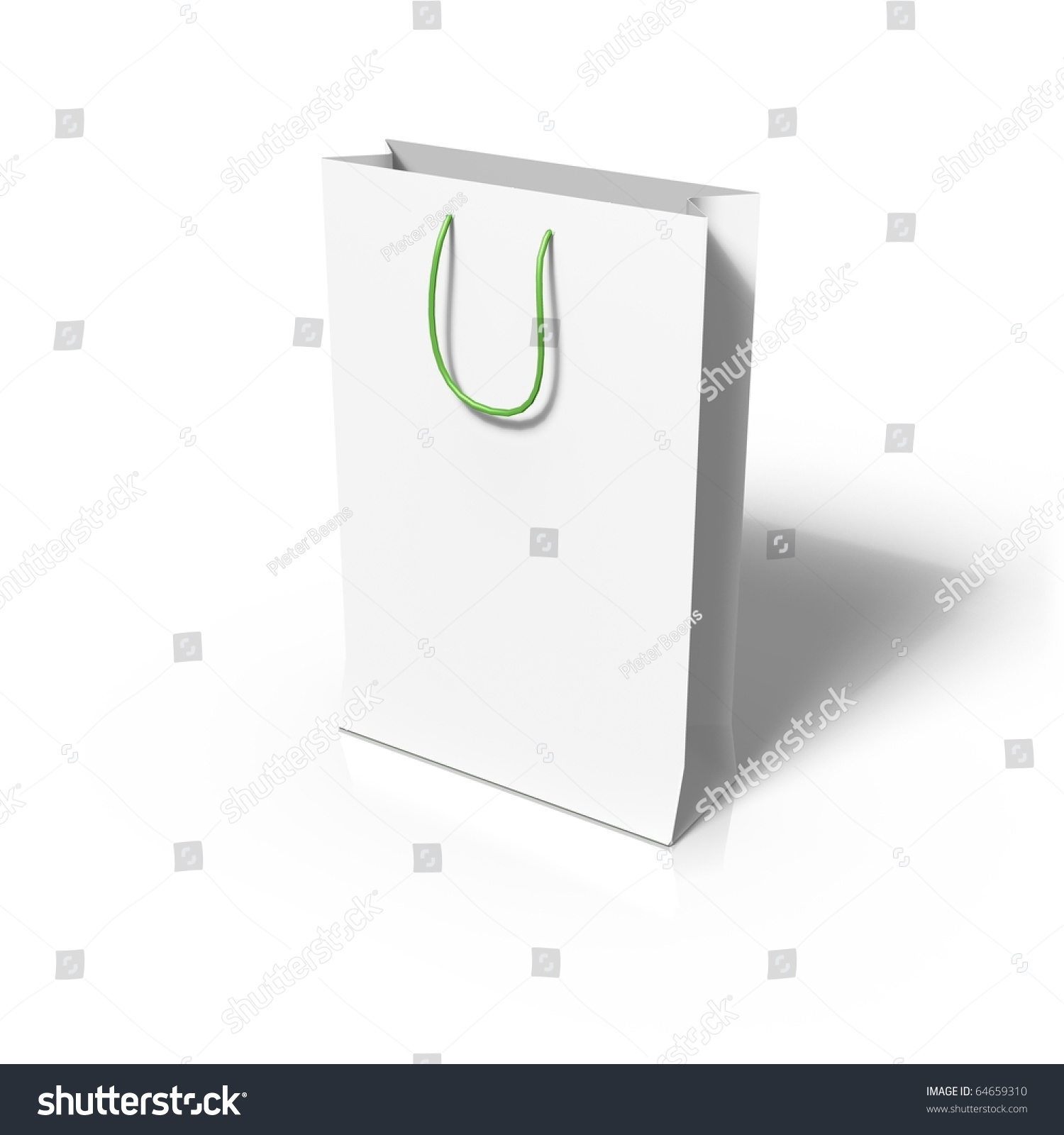 3d render of blank paper bag template stock photo 64659310 shutterstock. Black Bedroom Furniture Sets. Home Design Ideas