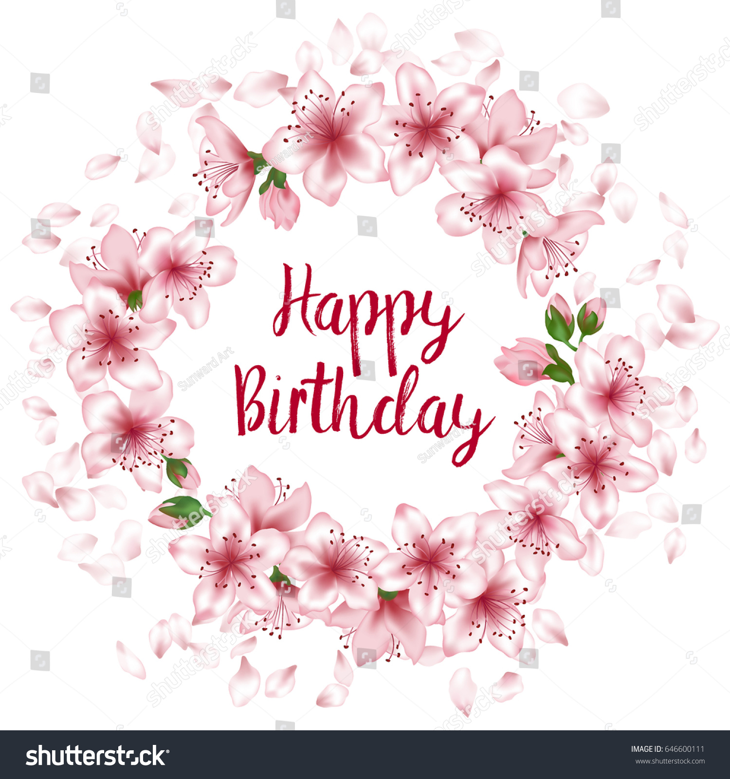 Happy Birthday Greeting Card Template Round Stock Vector Royalty