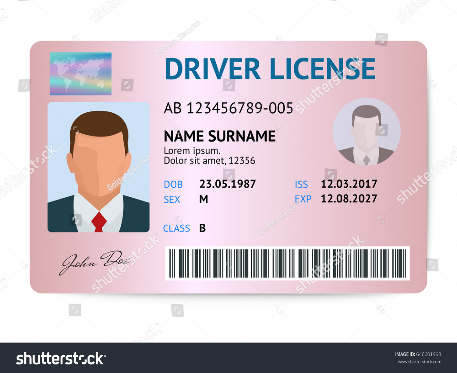 Flat Man Driver License Plastic Card Stock Vector 646601998 ...