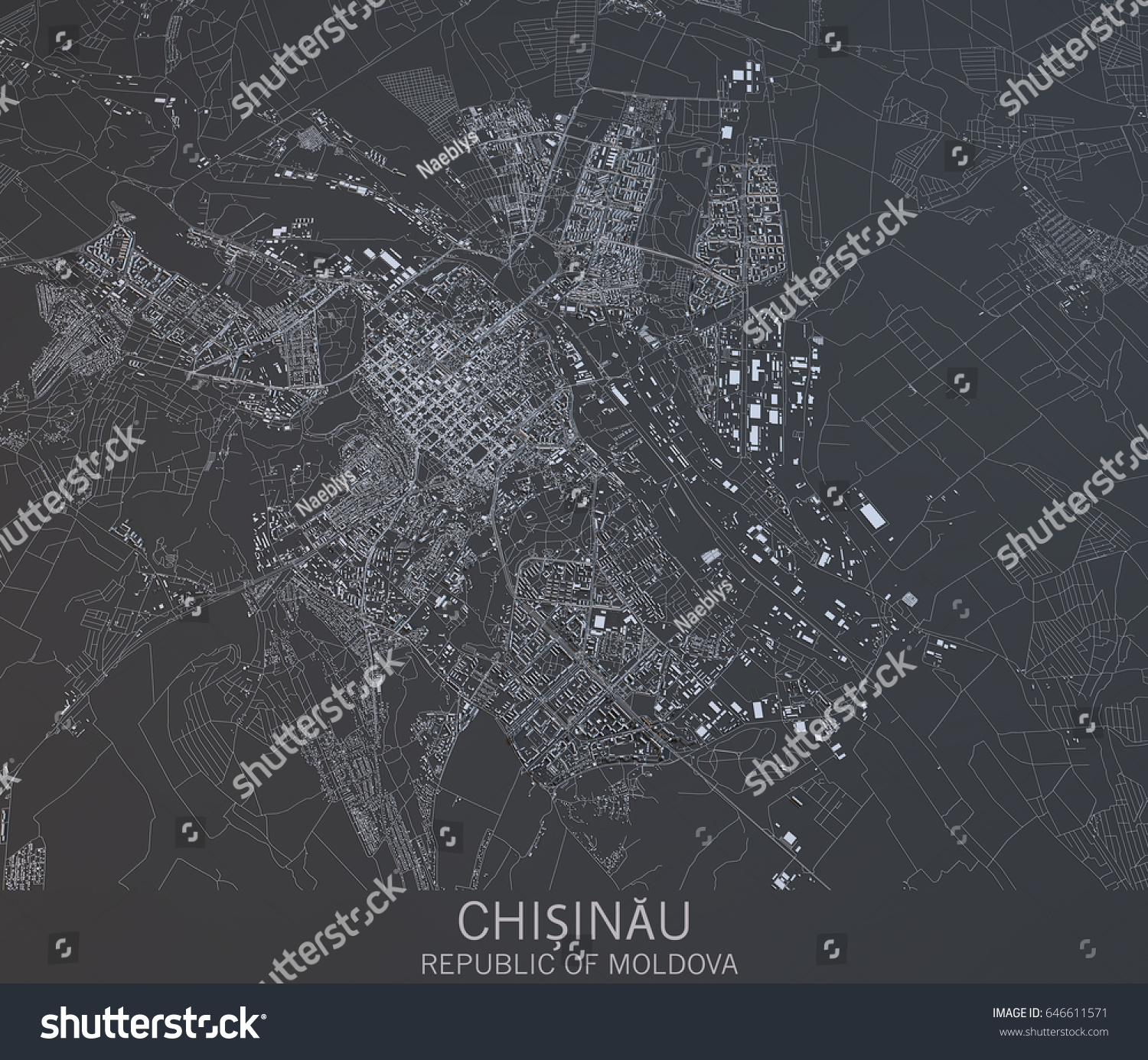 Map Chisinau Moldova Satellite View City Stock Illustration