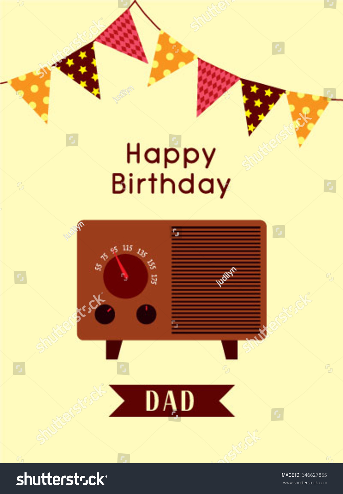 Happy Birthday Greeting Dad Vintage Radio Vector 646627855 – Birthday Greeting Dad