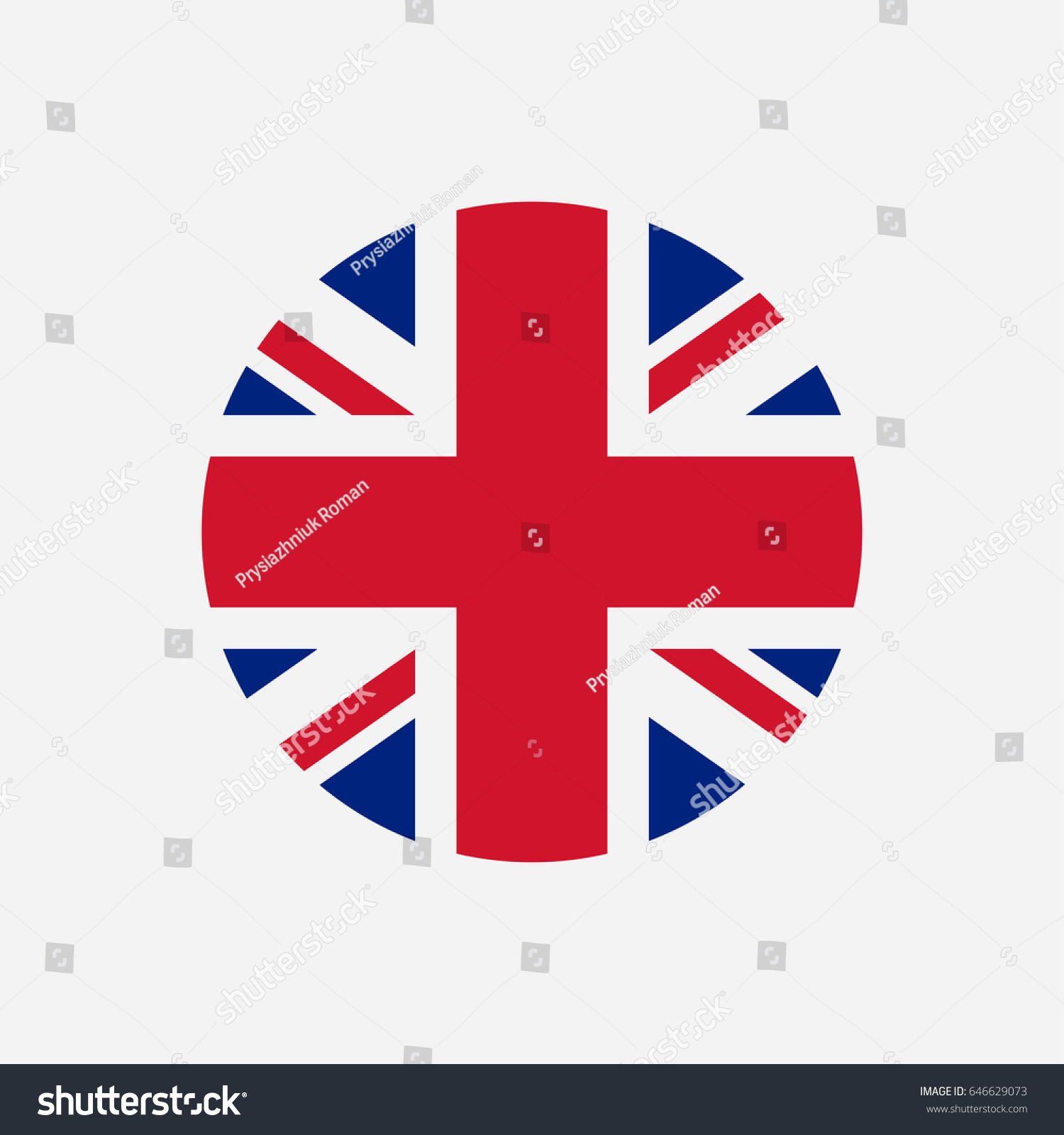 great britain flag union jack round stock vector 646629073