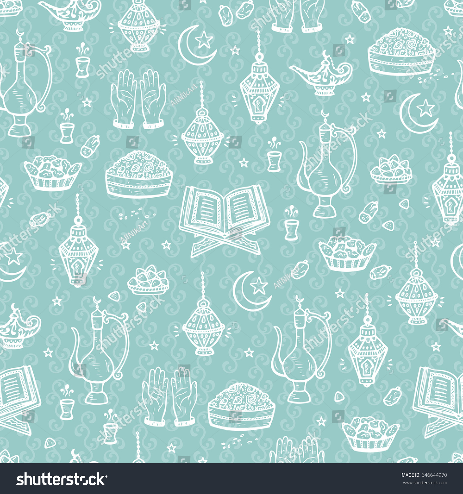 Islamic Symbols Background Arabic Seamless Pattern Stock Vector