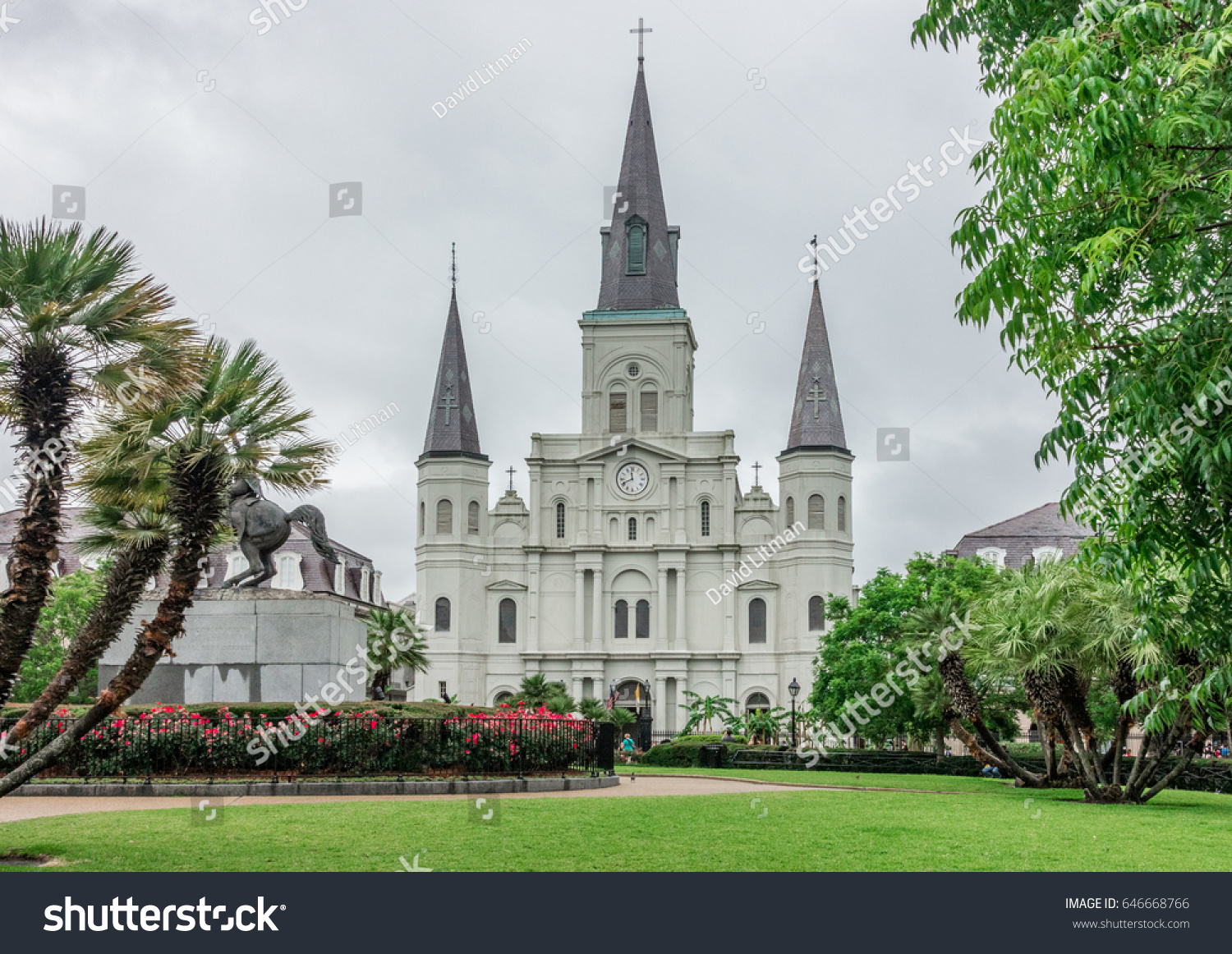 The Saint Louis Cathedral, at Jackson Square historic park in the French Quarter of New Orleans in Louisiana.