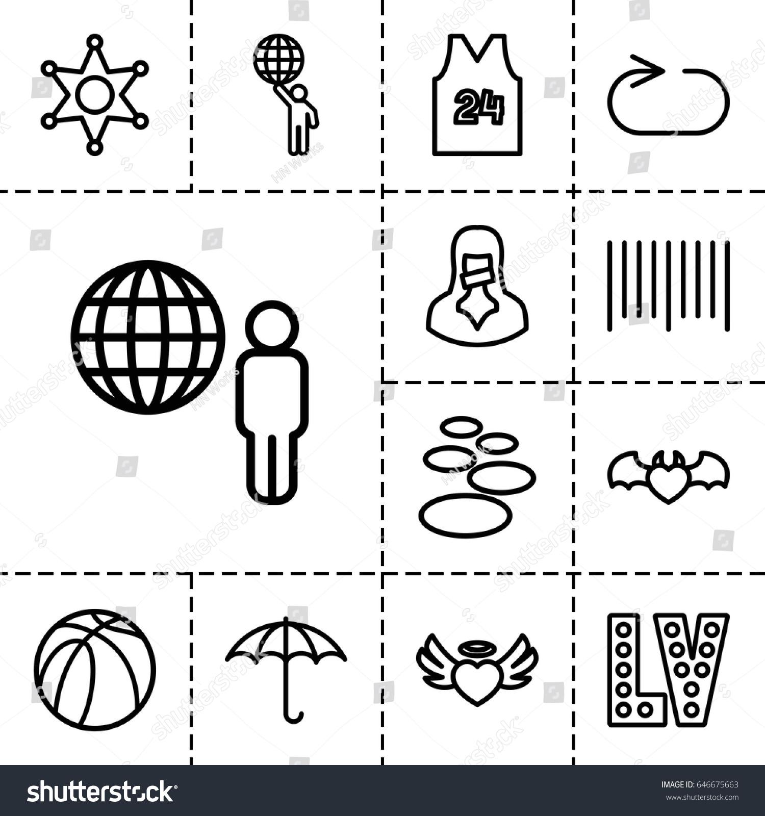 Grunge icon set 13 outline grunge stock vector 646675663 grunge icon set of 13 outline grunge icons such as vegas basketball keep buycottarizona Choice Image
