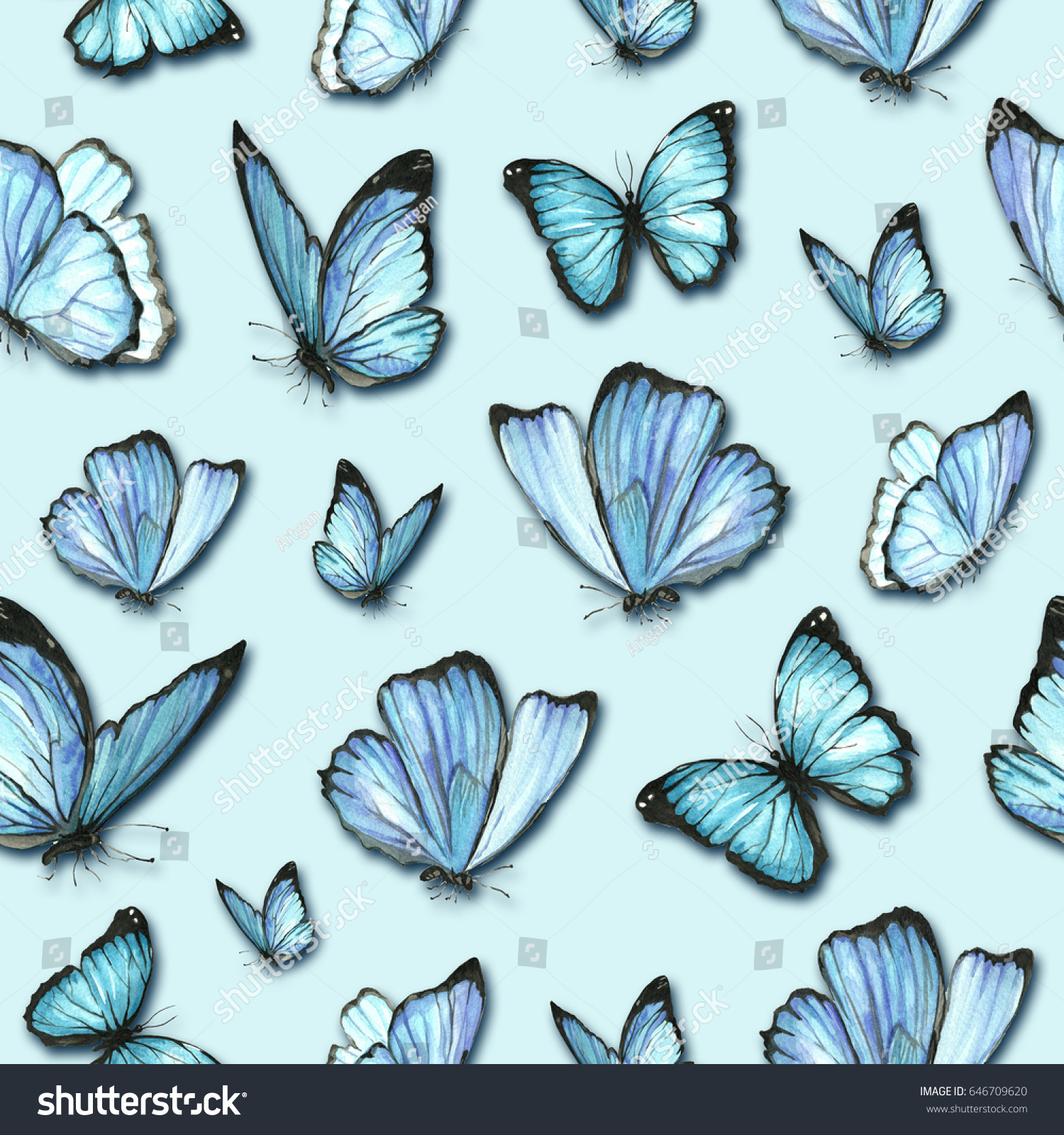 Pattern Watercolor Blue Butterflies Insect Morpho Stock Illustration ...