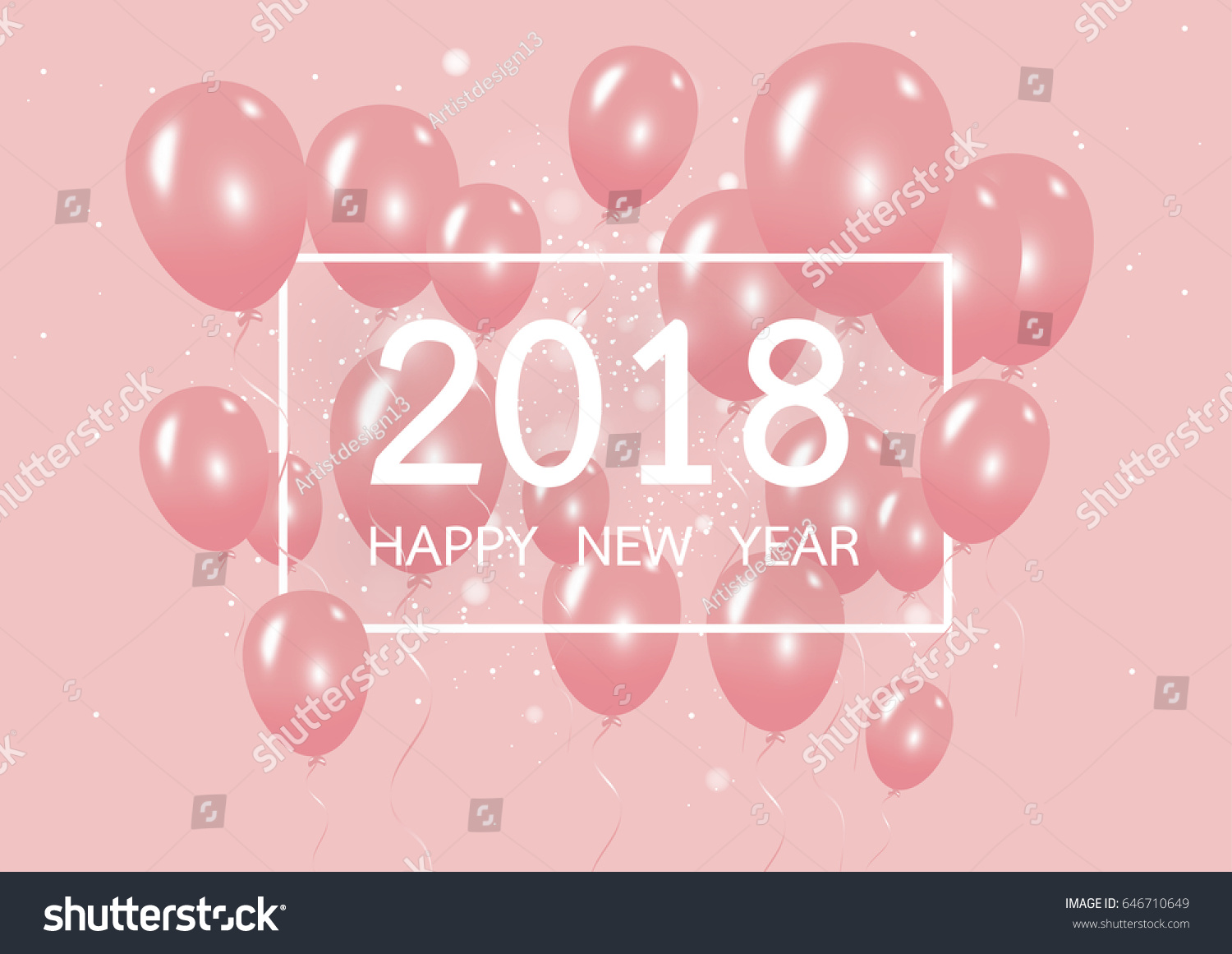 happy new year 2018 with creative pink balloon concept on pastel pink background for copy space