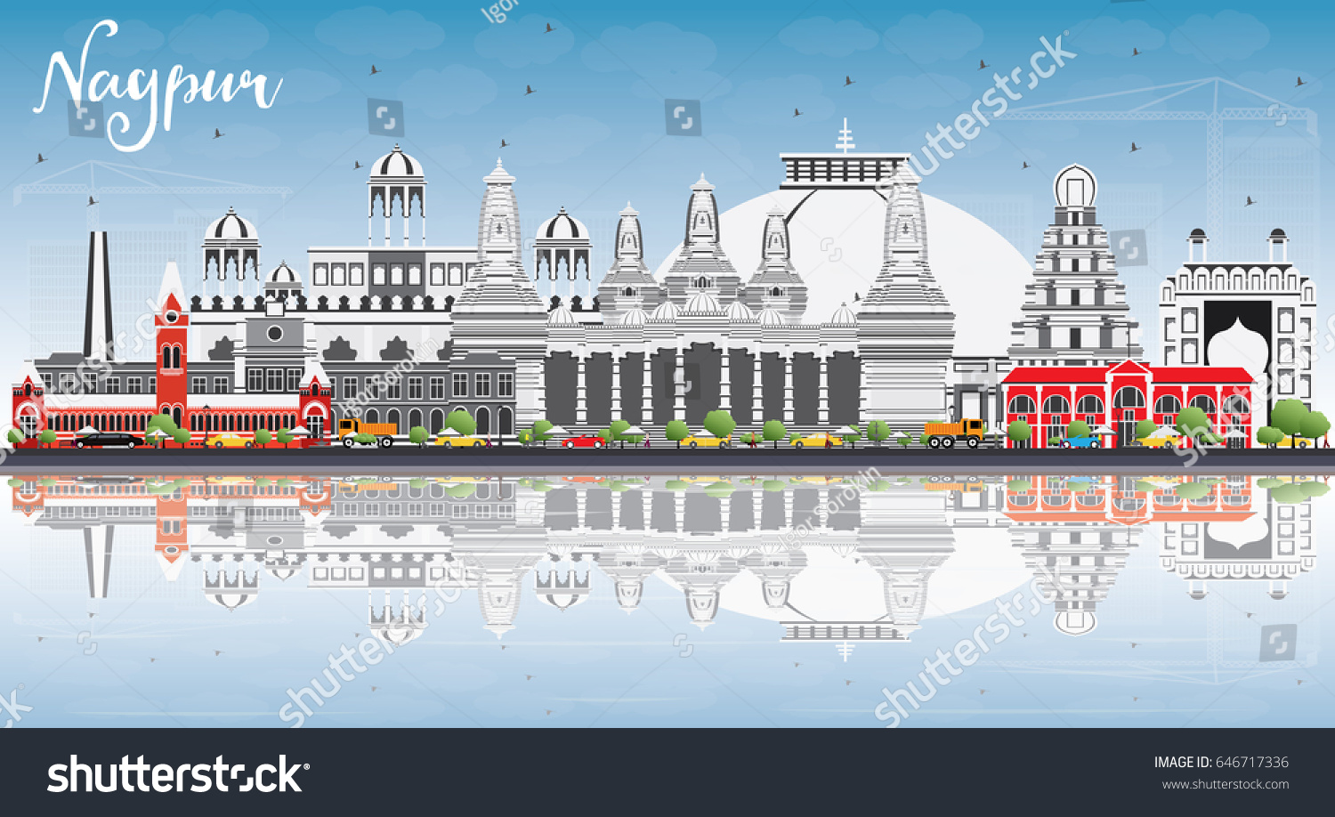 Outline athens skyline with blue buildings and copy space stock vector - Nagpur Skyline With Gray Buildings Blue Sky And Reflections Business Travel And Tourism Concept