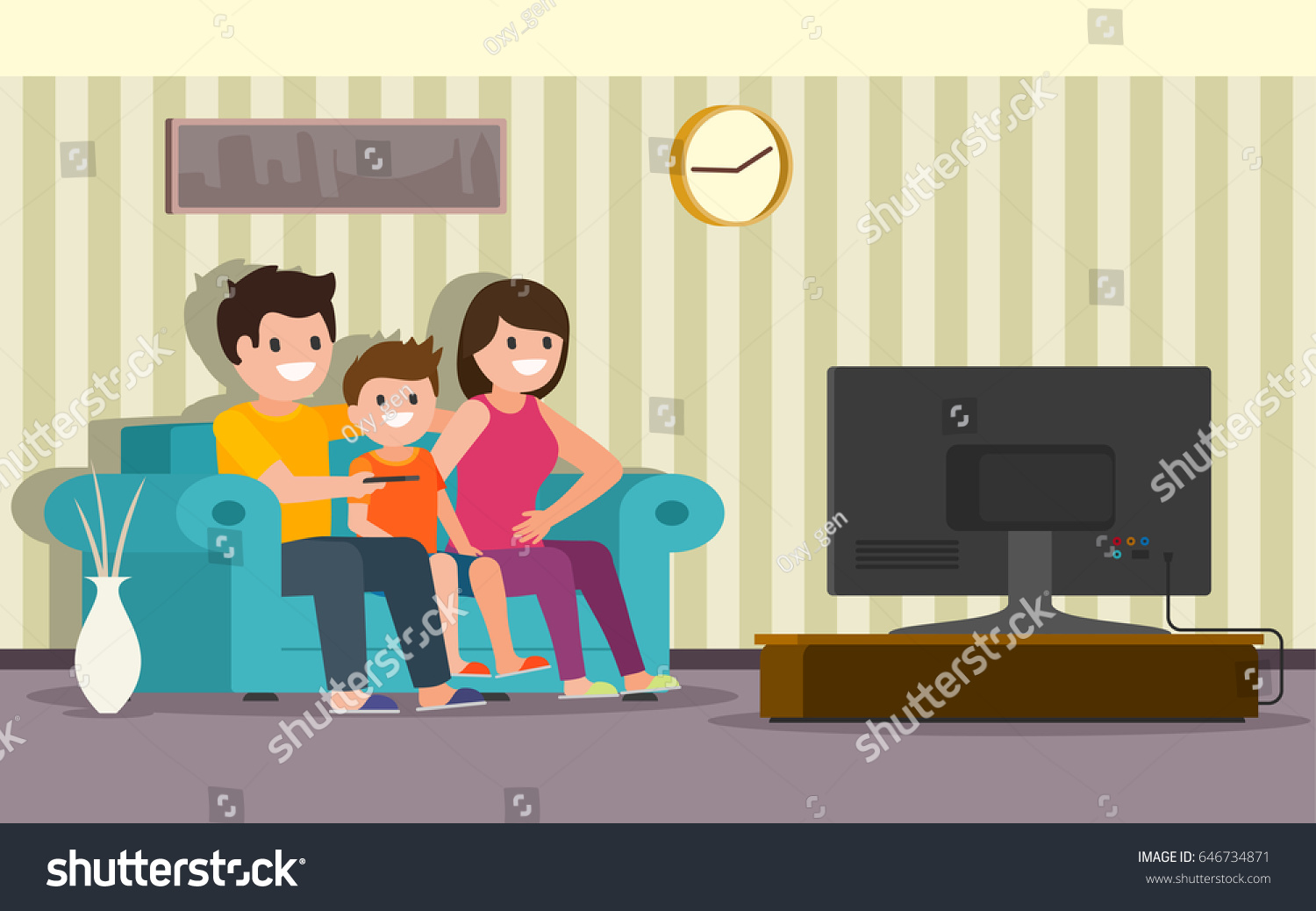 Happy Family Sitting On A Sofa In Living Room Front Of The Television Screen