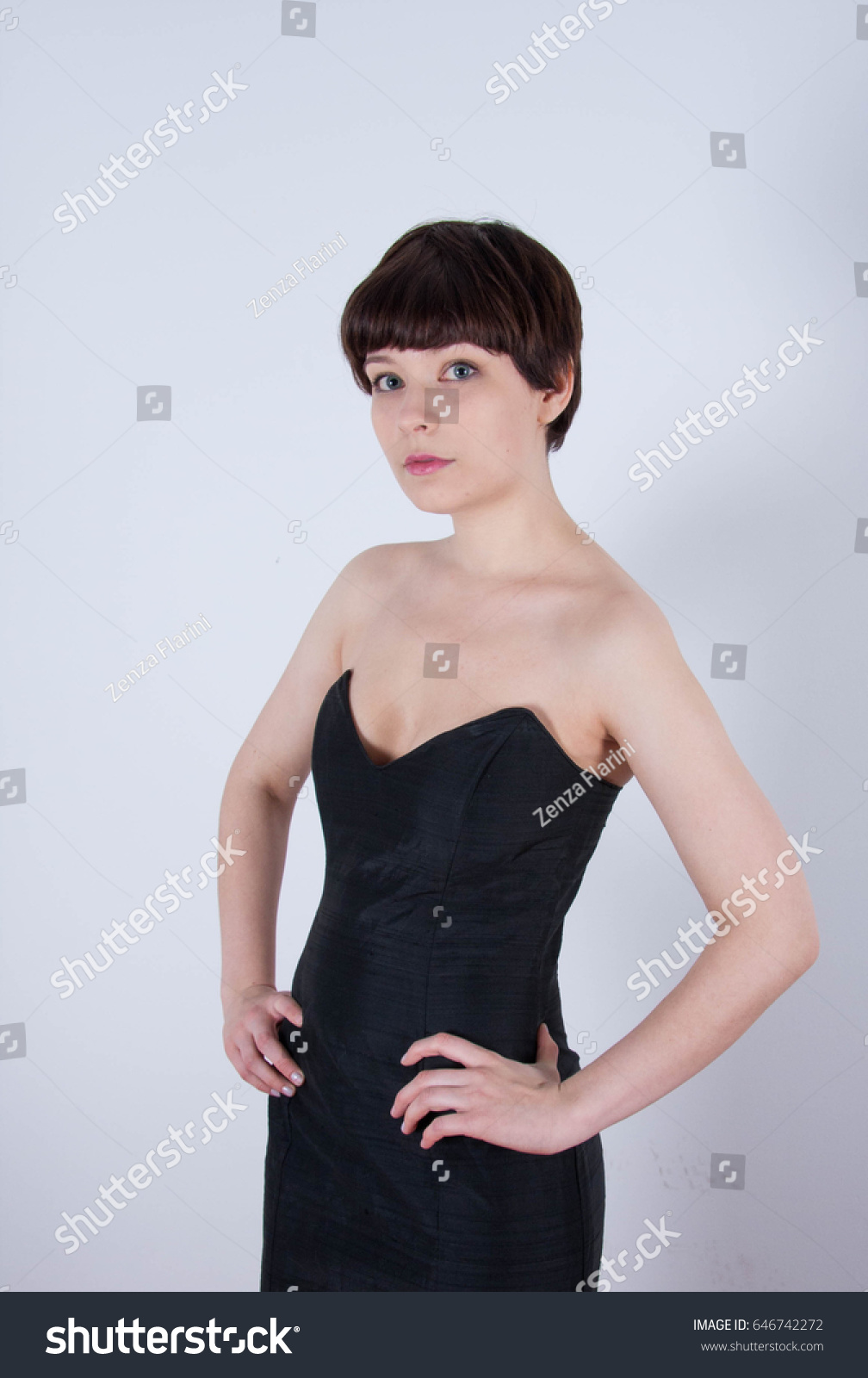 Cute Short Haired Model Vintage Designer Stock Photo Edit Now 646742272