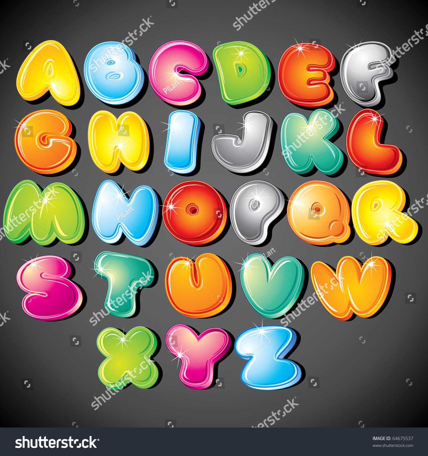 Joyful Cartoon Font Letter Z Vector Stock Vector 64675537 ...